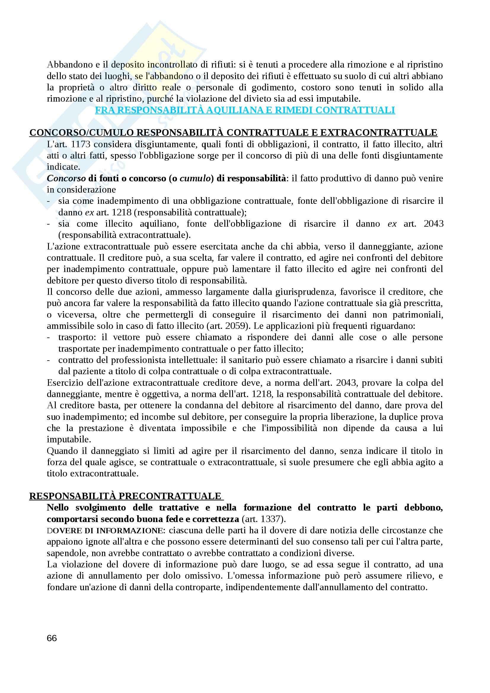 Riassunto esame diritto civile, prof. Balestra, libro consigliato I fatti illeciti, Galgano Pag. 66