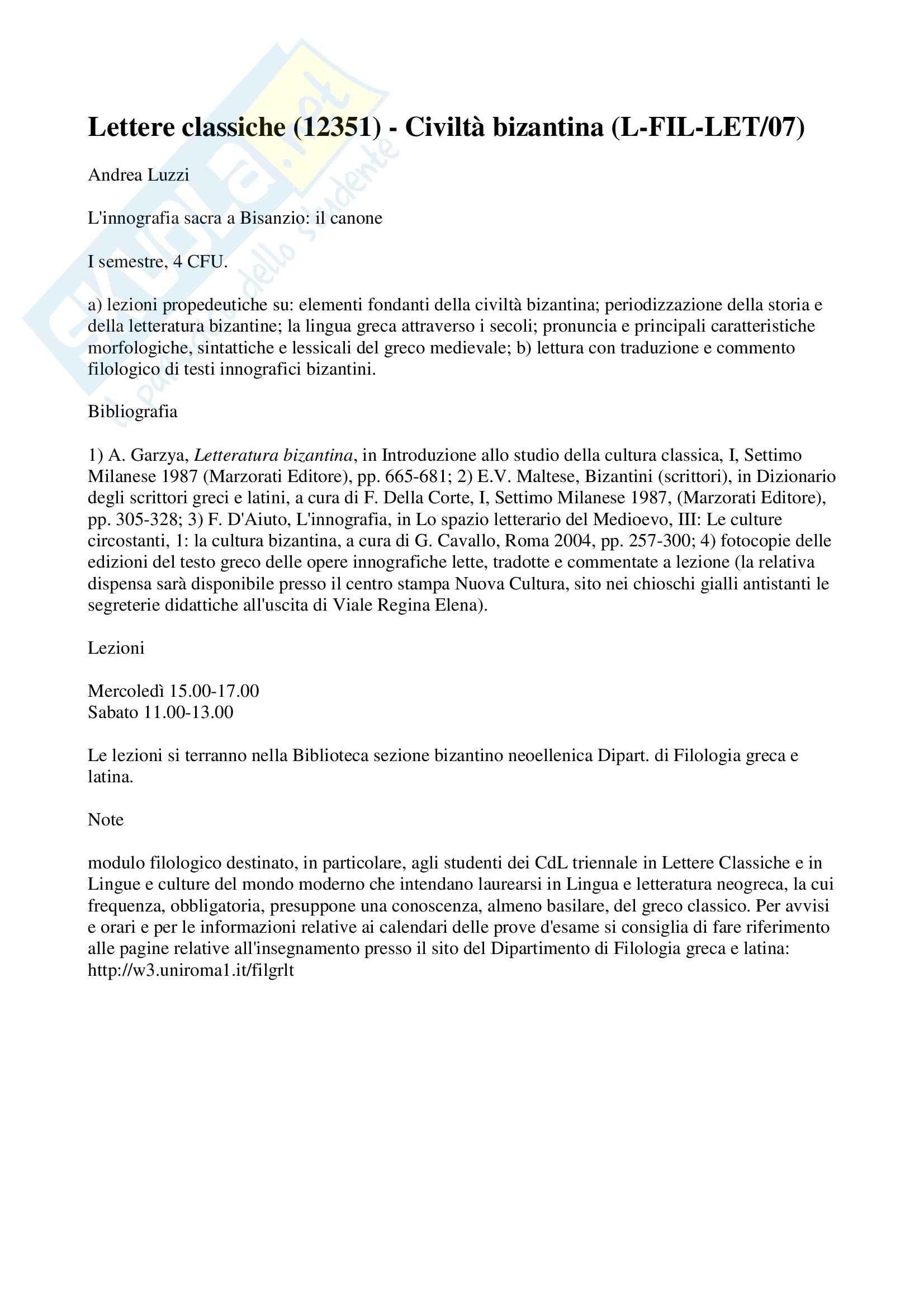 Innografia sacra a Bisanzio: il canone