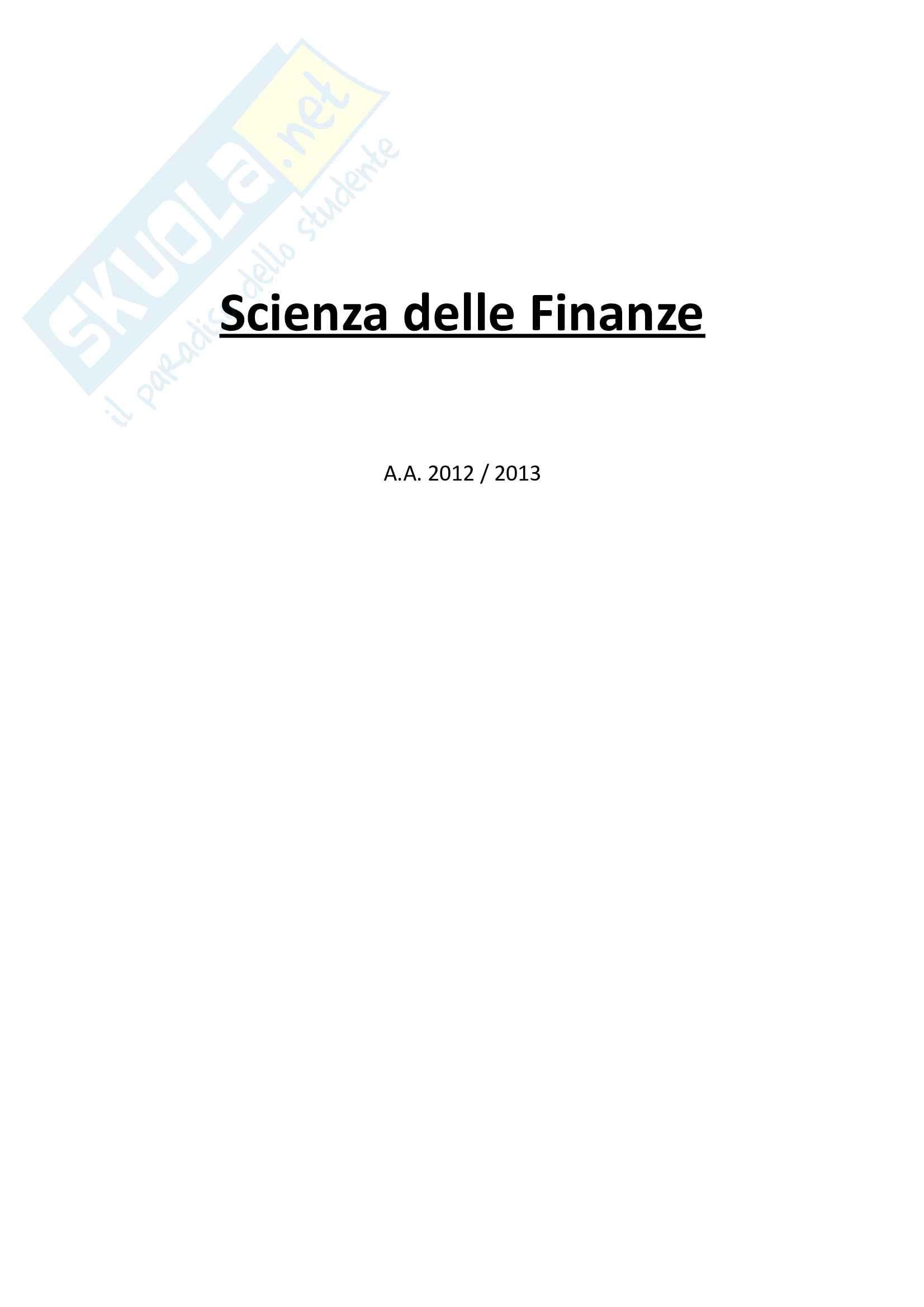 Scienze delle Finanze - Domande Pag. 1