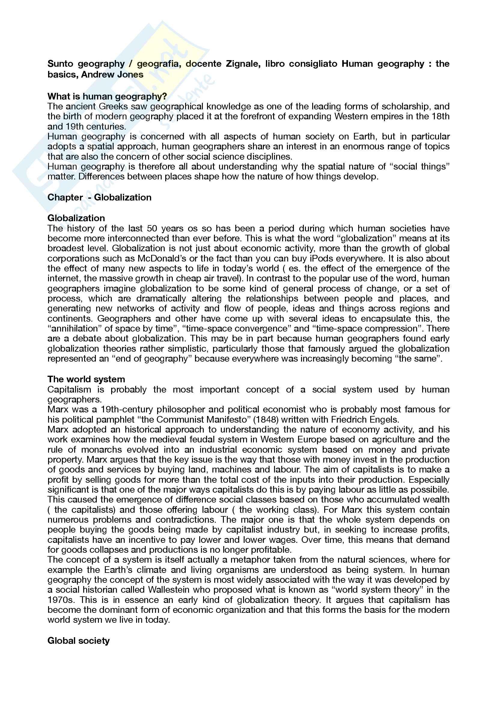 Riassunto esame geography / geografia, docente Zignale, libro consigliato Human geography: the basics, Andrew Jones