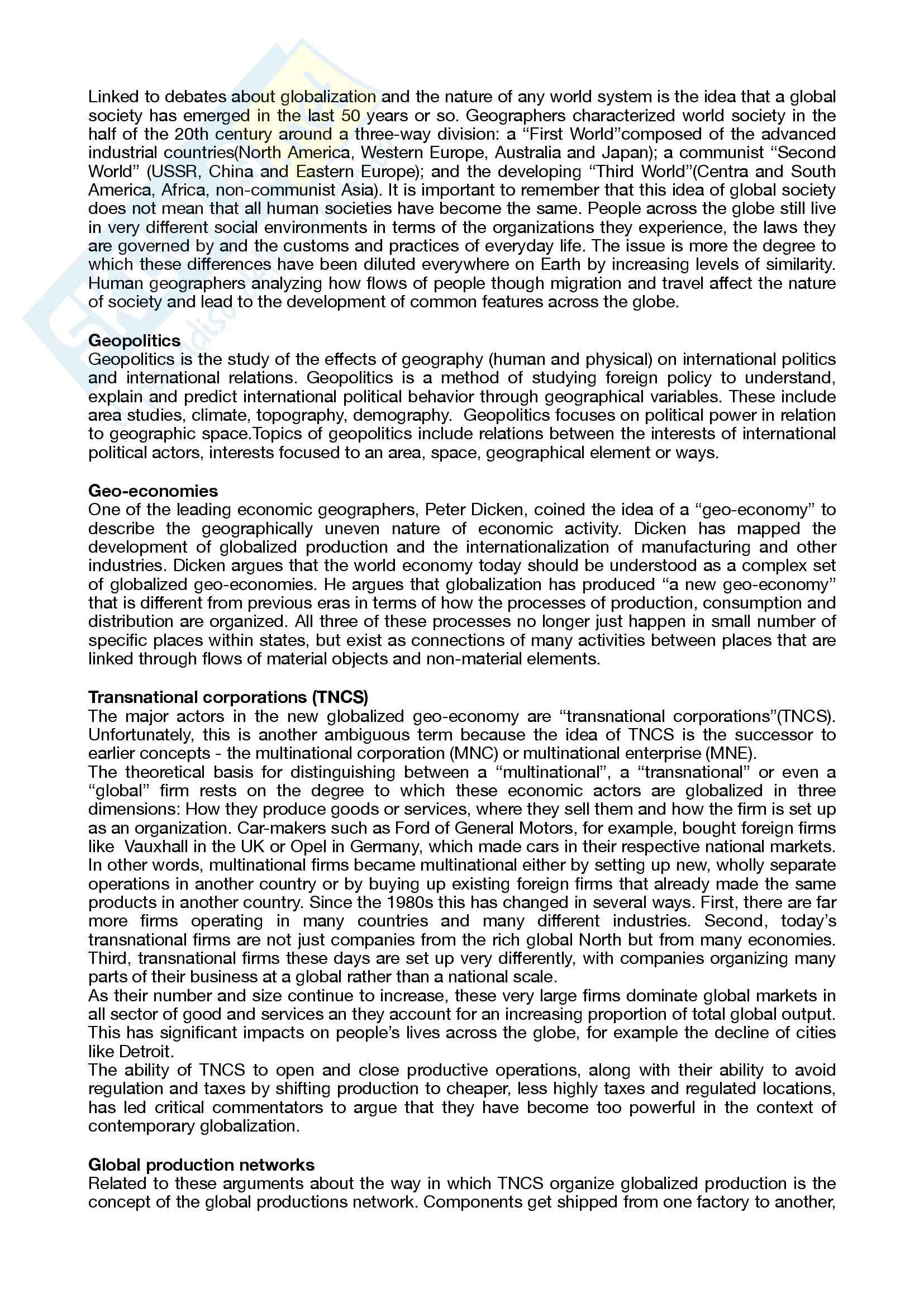 Riassunto esame geography / geografia, docente Zignale, libro consigliato Human geography: the basics, Andrew Jones Pag. 2