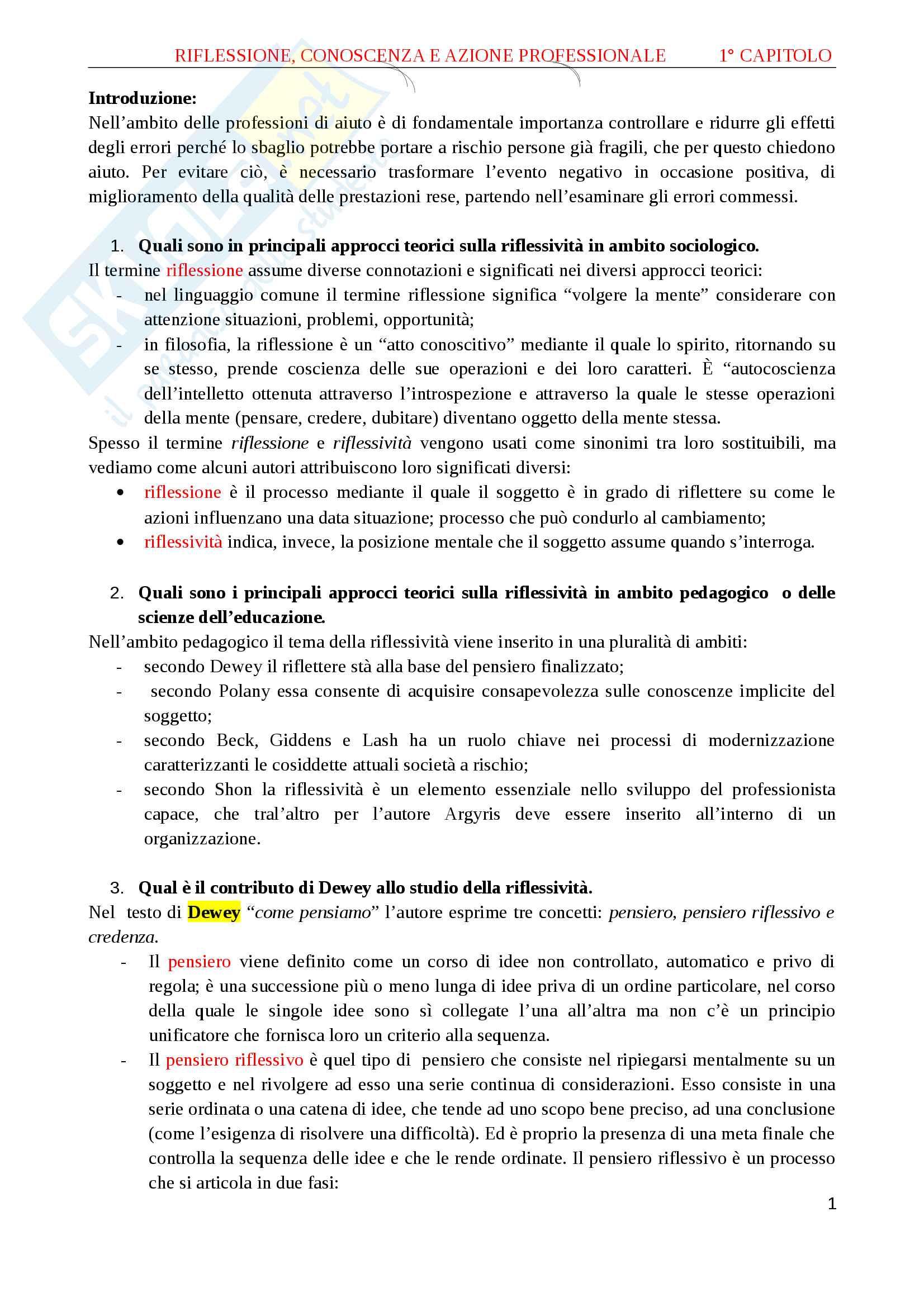 Riassunto esame metodologia del servizio sociale, prof. Sicora, libro consigliato Errore e apprendimento nelle professioni d'aiuto, Sicora, Maggioli, Rimini, 2010