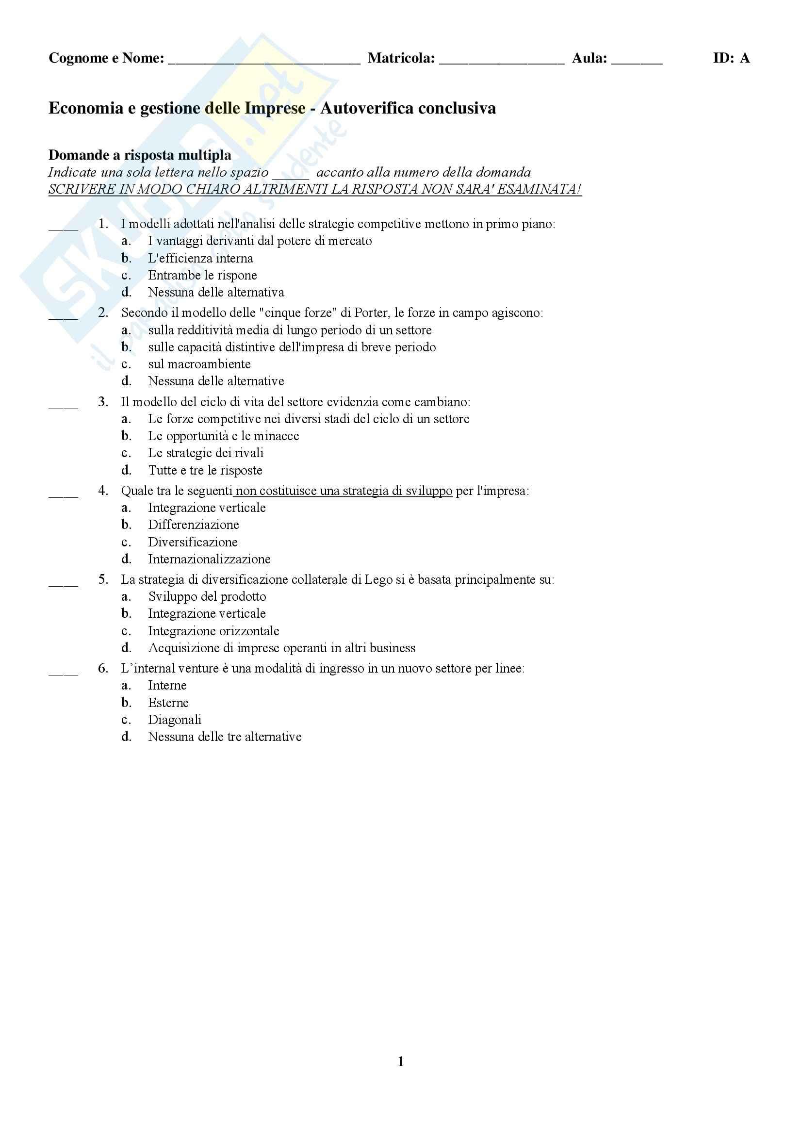 Economia e gestione delle imprese - test autovalutazione