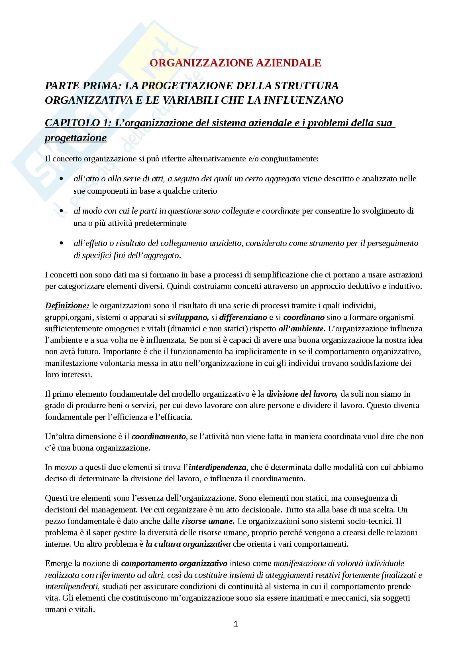 Riassunto esame Organizzazione Aziendale, prof. Cavaliere, libro consigliato Elementi di progettazione organizzativa e di programmazione del personale, D'Anna