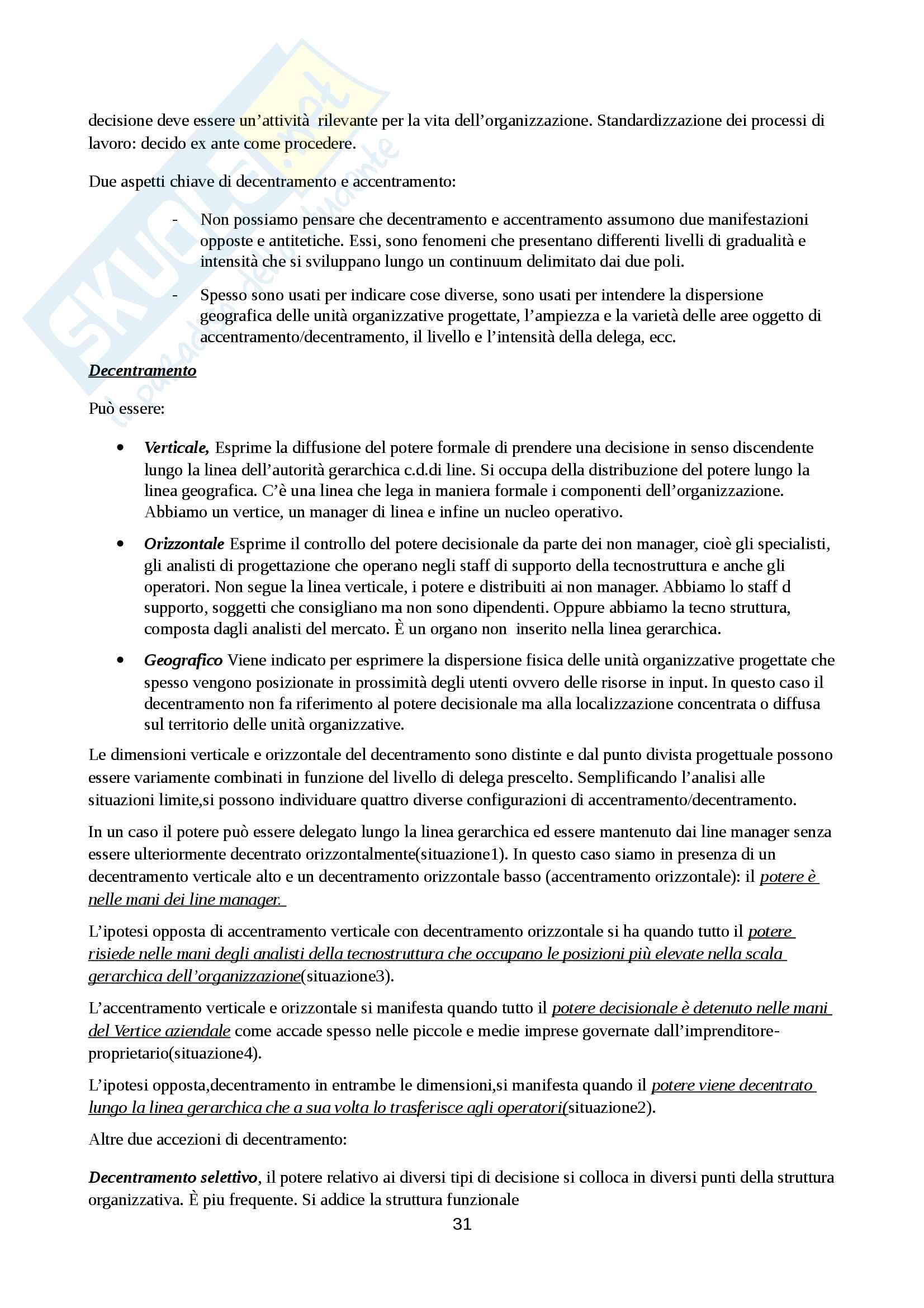 Riassunto esame Organizzazione Aziendale, prof. Cavaliere, libro consigliato Elementi di progettazione organizzativa e di programmazione del personale, D'Anna Pag. 31