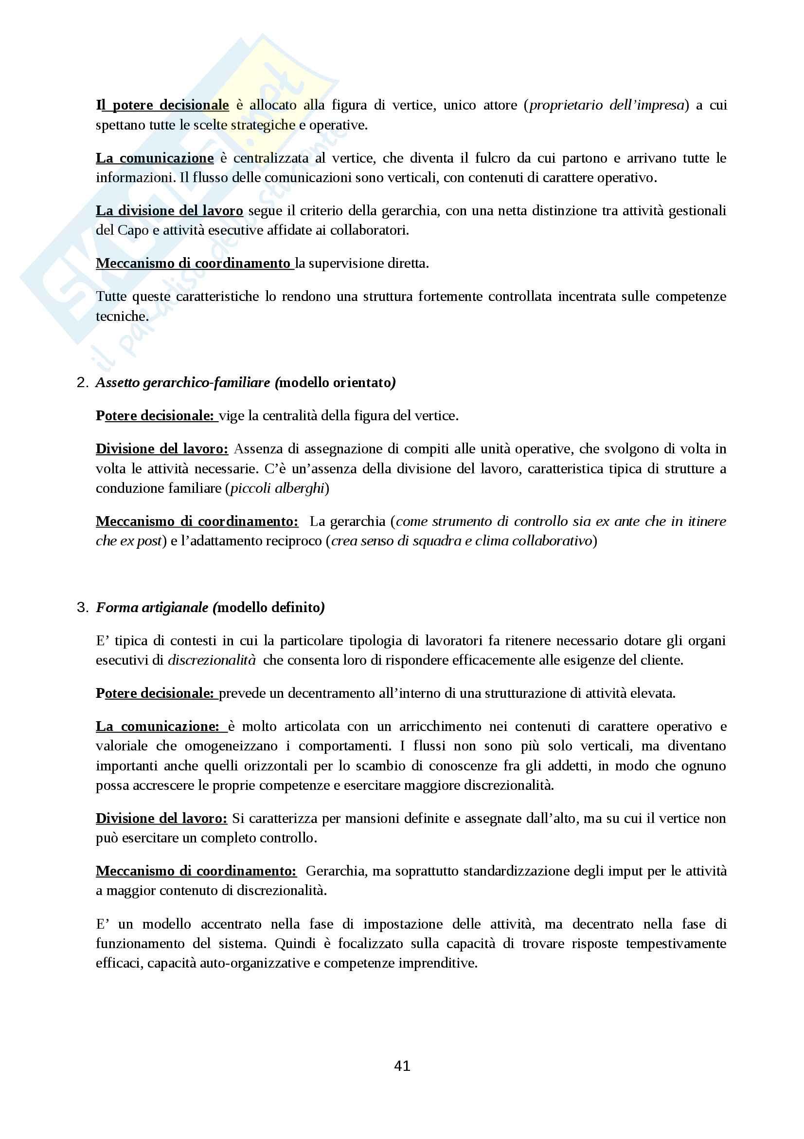 Riassunto esame Organizzazione Aziendale, prof. Cavaliere, libro consigliato Elementi di progettazione organizzativa e di programmazione del personale, D'Anna Pag. 41
