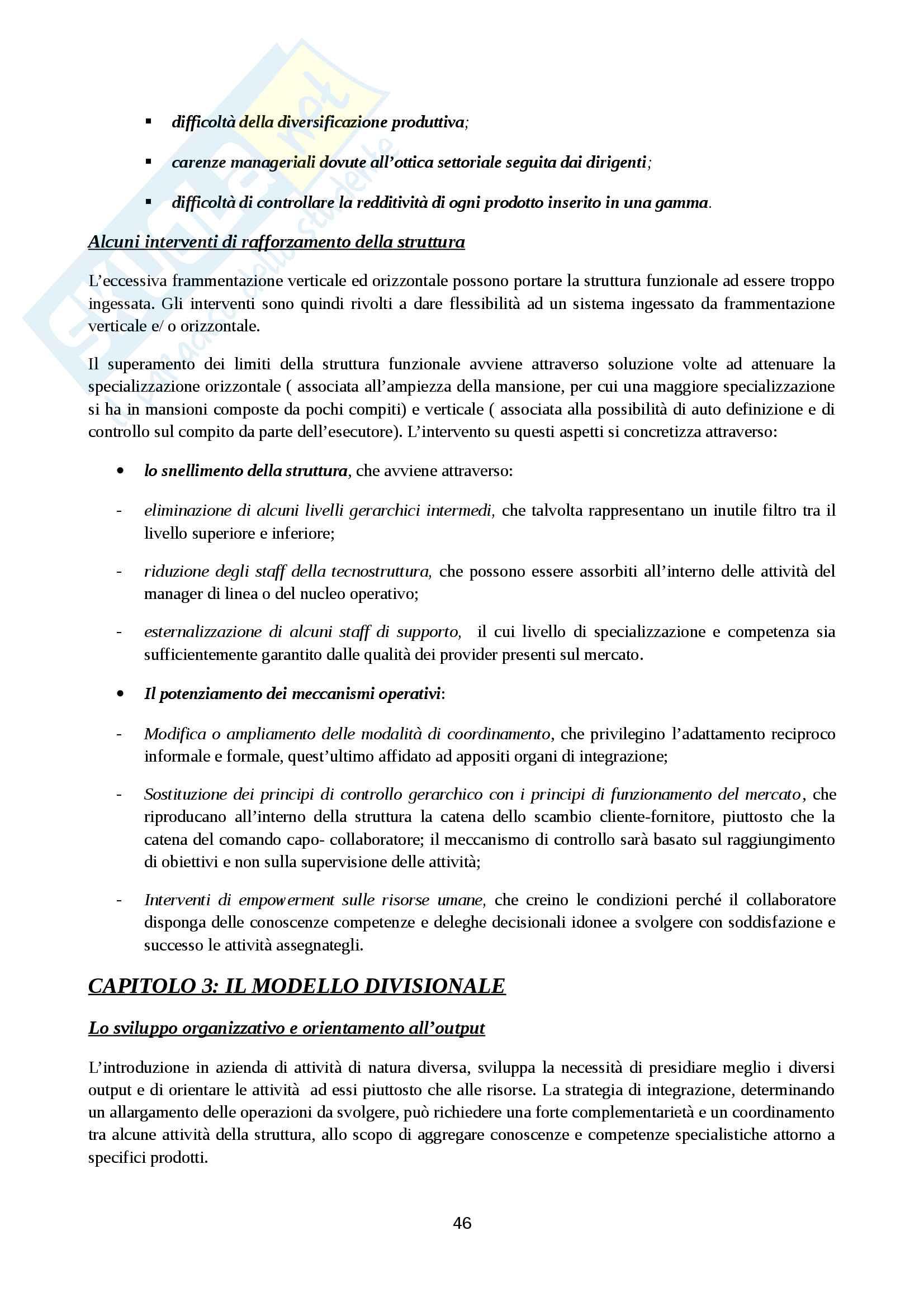 Riassunto esame Organizzazione Aziendale, prof. Cavaliere, libro consigliato Elementi di progettazione organizzativa e di programmazione del personale, D'Anna Pag. 46