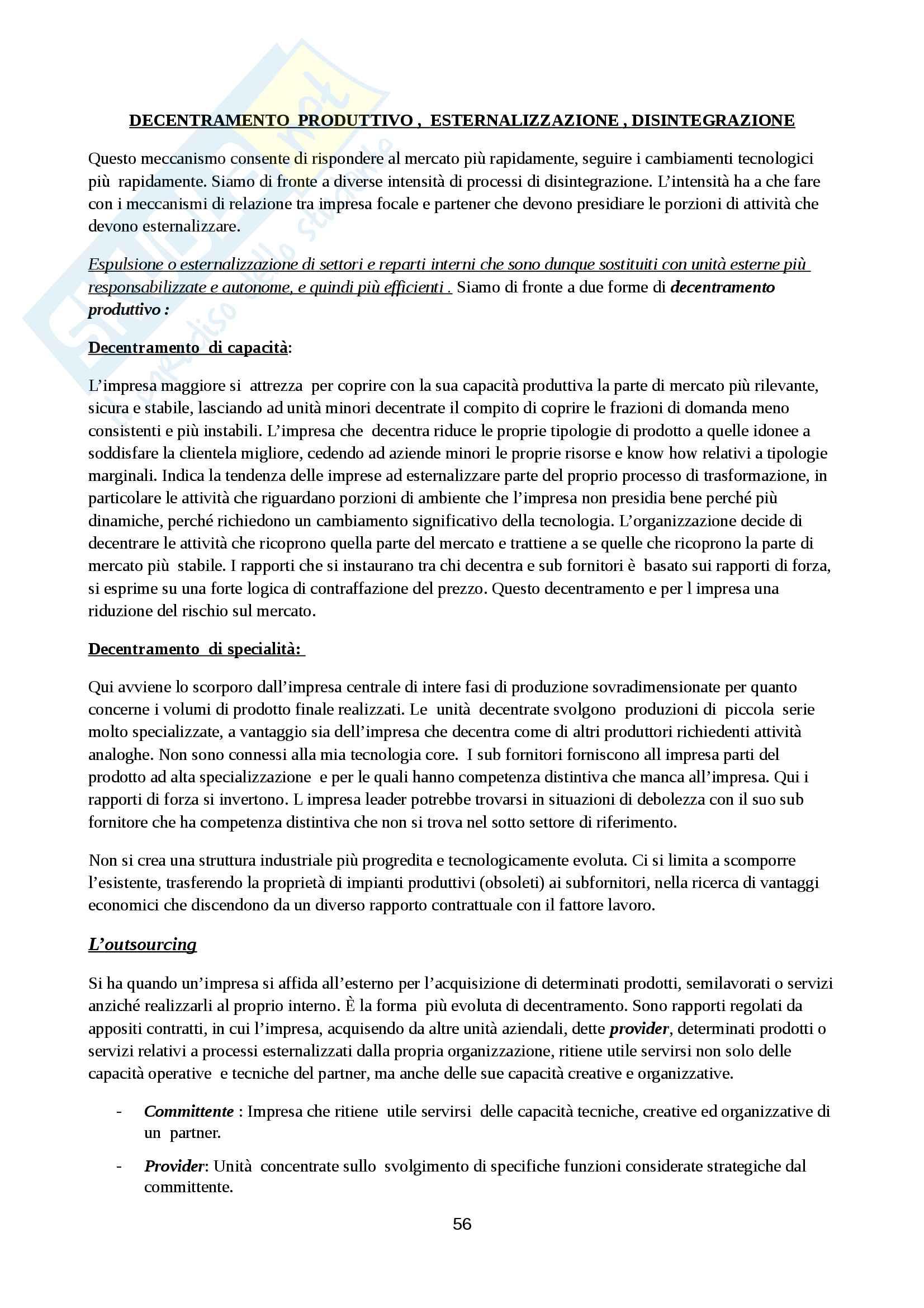 Riassunto esame Organizzazione Aziendale, prof. Cavaliere, libro consigliato Elementi di progettazione organizzativa e di programmazione del personale, D'Anna Pag. 56