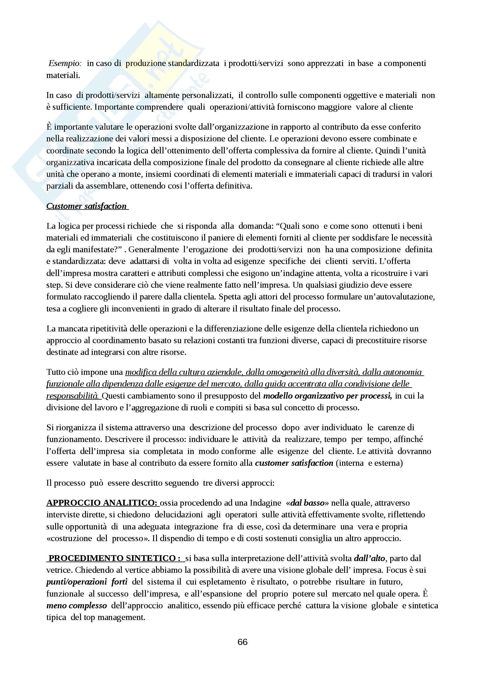 Riassunto esame Organizzazione Aziendale, prof. Cavaliere, libro consigliato Elementi di progettazione organizzativa e di programmazione del personale, D'Anna Pag. 66