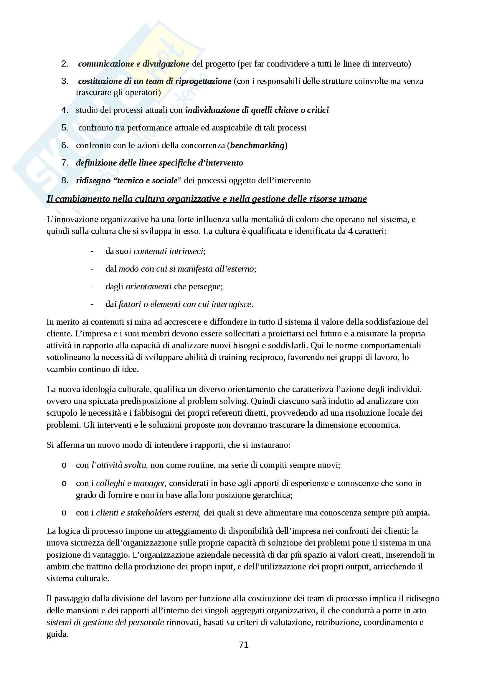 Riassunto esame Organizzazione Aziendale, prof. Cavaliere, libro consigliato Elementi di progettazione organizzativa e di programmazione del personale, D'Anna Pag. 71