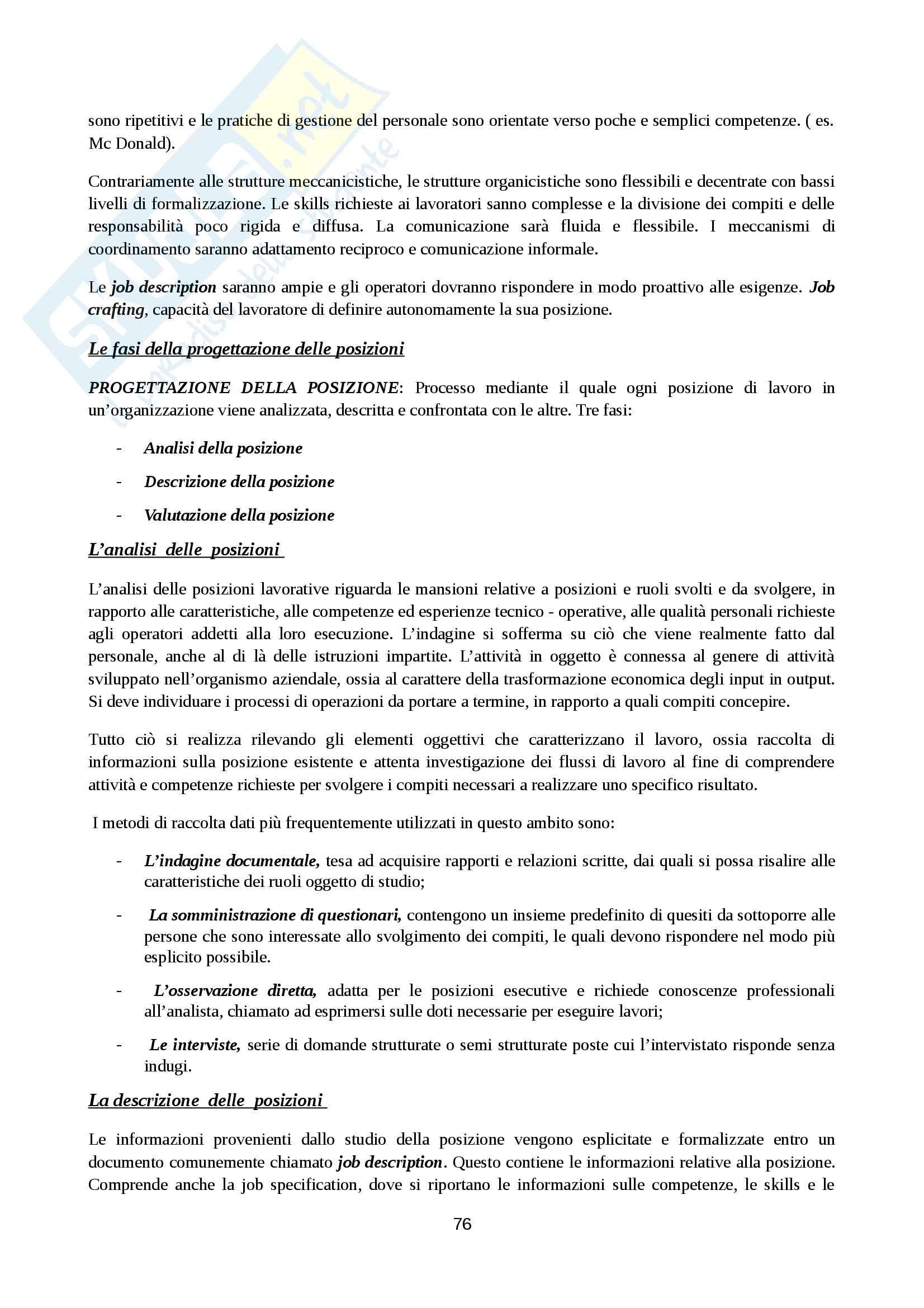 Riassunto esame Organizzazione Aziendale, prof. Cavaliere, libro consigliato Elementi di progettazione organizzativa e di programmazione del personale, D'Anna Pag. 76