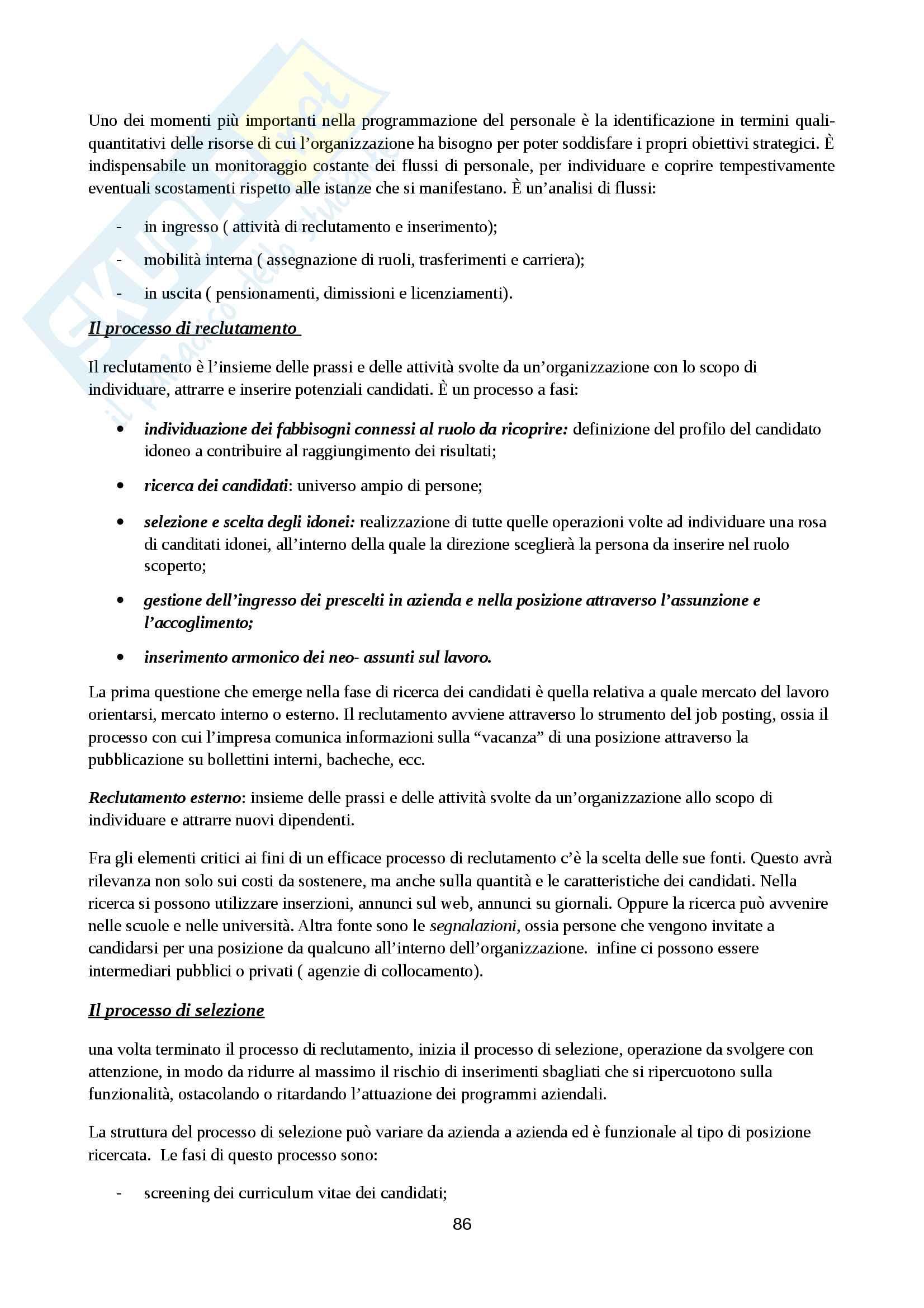 Riassunto esame Organizzazione Aziendale, prof. Cavaliere, libro consigliato Elementi di progettazione organizzativa e di programmazione del personale, D'Anna Pag. 86