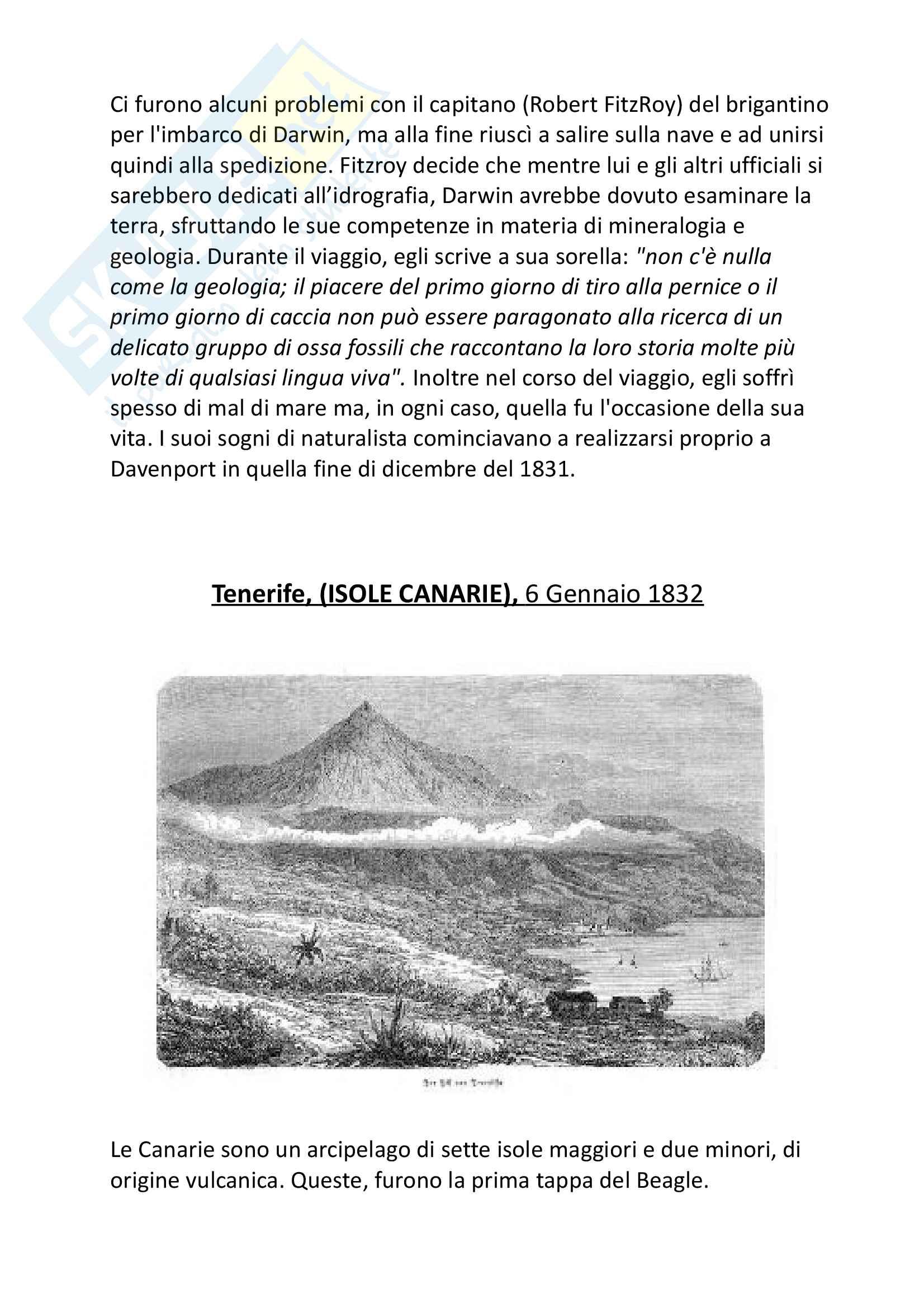 Tesina esame a scelta Storia della Scienza, Prof. Di Gregorio, Darwin e il Viaggio sul Beagle Pag. 6