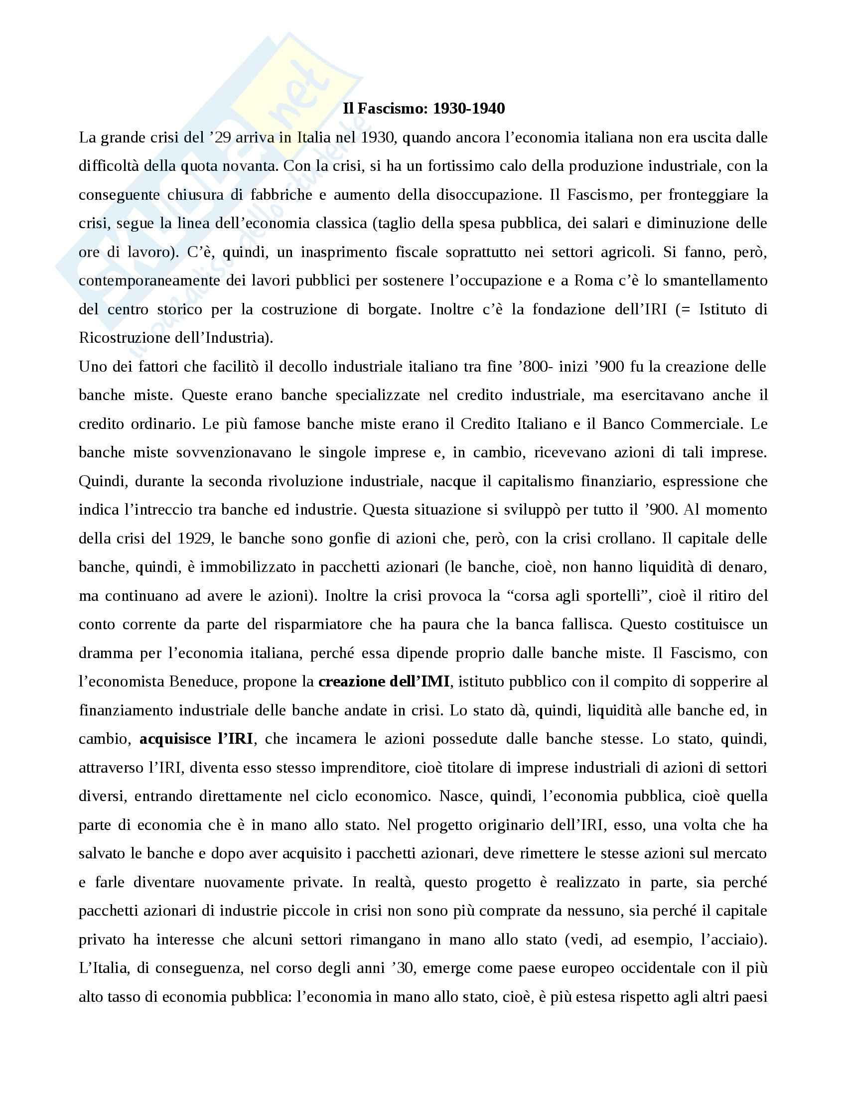 Storia contemporanea - Fascismo: 1930-1940