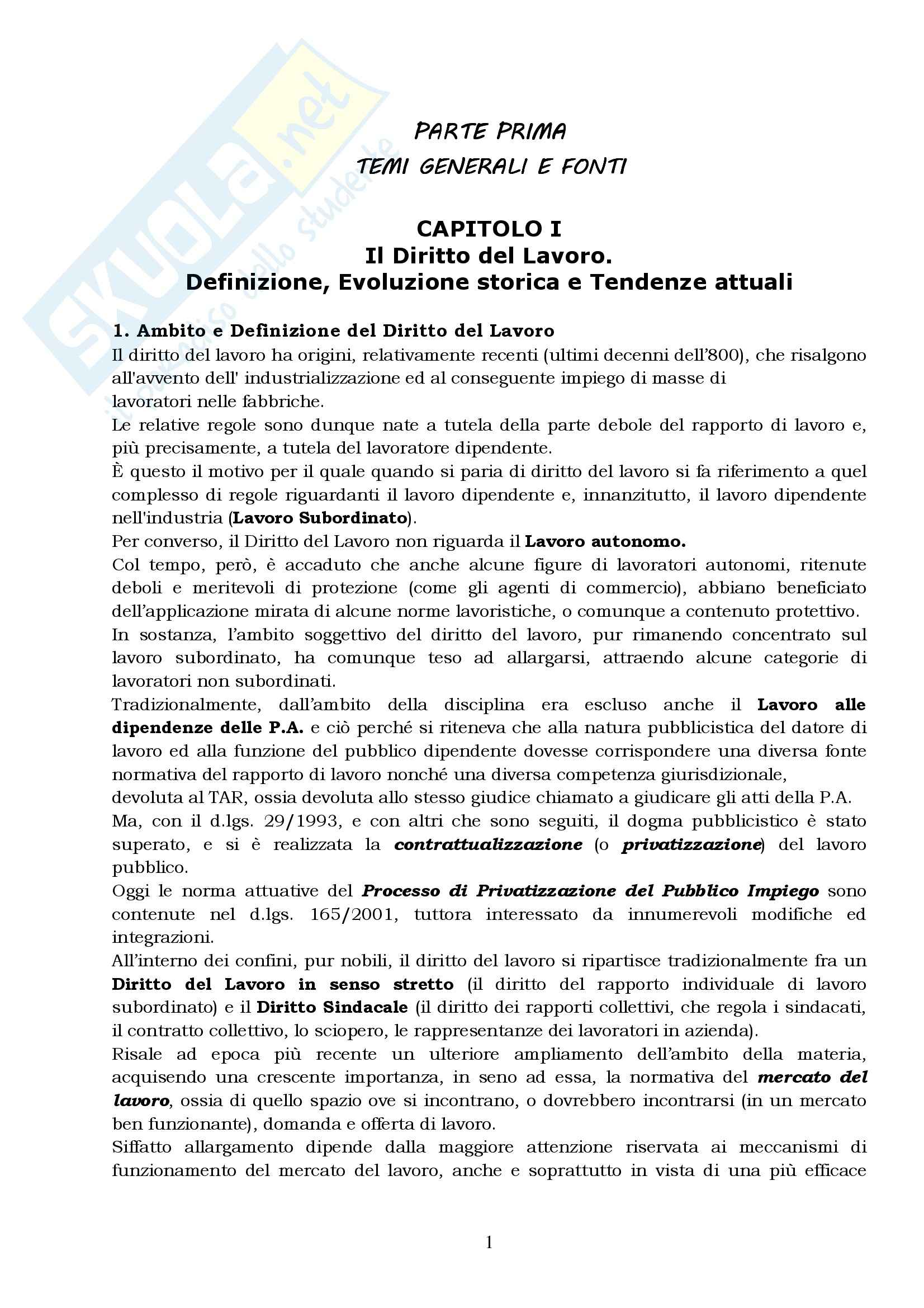 Lezioni di diritto del lavoro, Del Punta