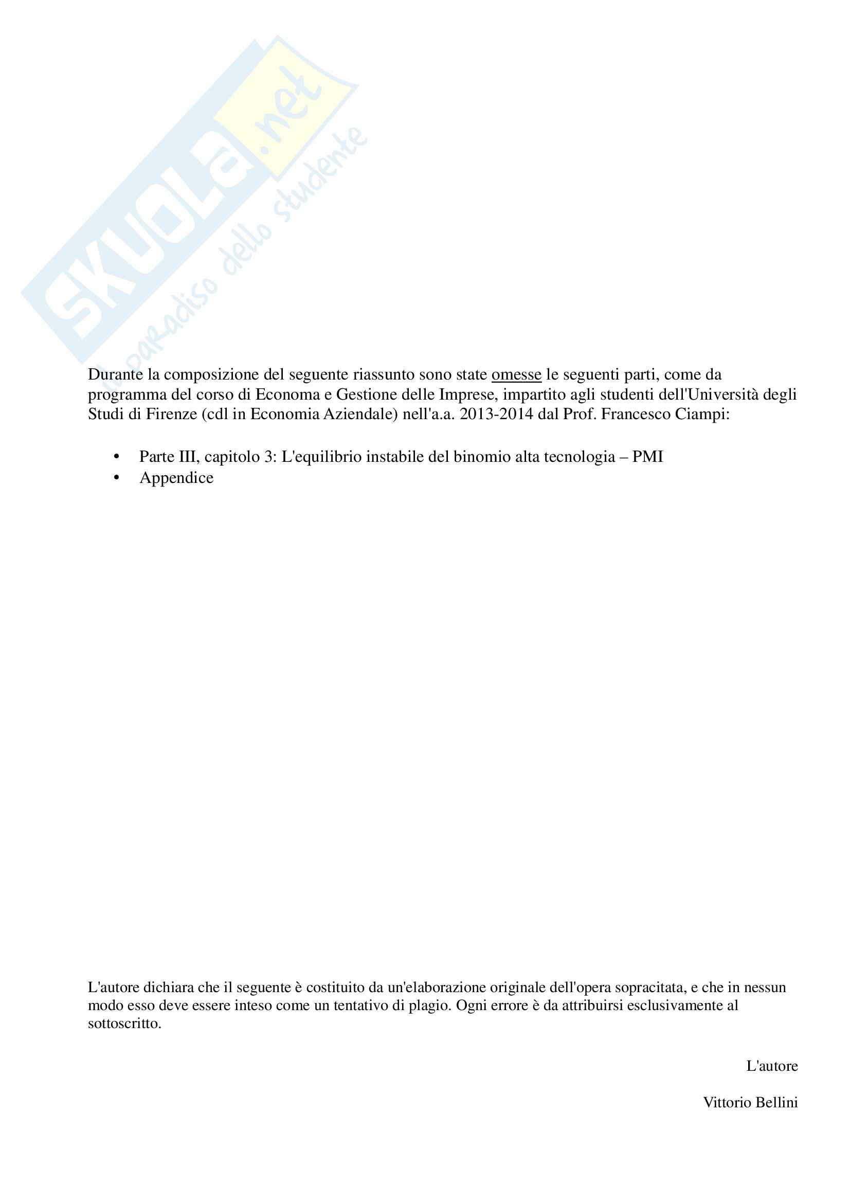 Riassunto esame Economia e gestione delle imprese, prof. Ciampi, libro consigliato Fondamenti di Economia e Gestione delle Imprese