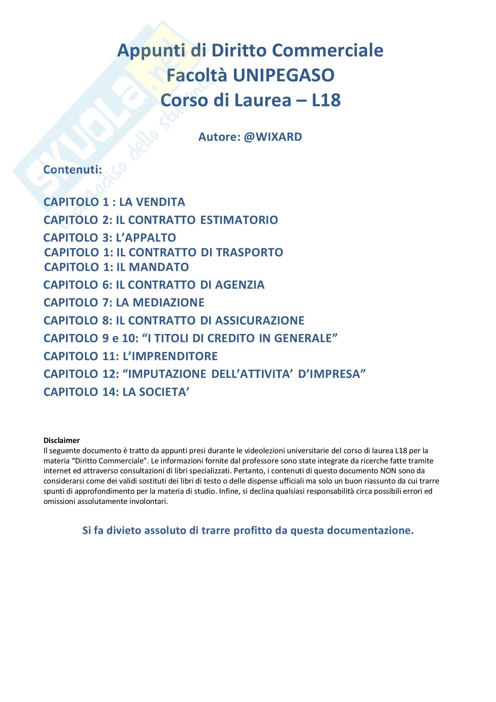 Riassunto Diritto Commerciale L18 Unipegaso