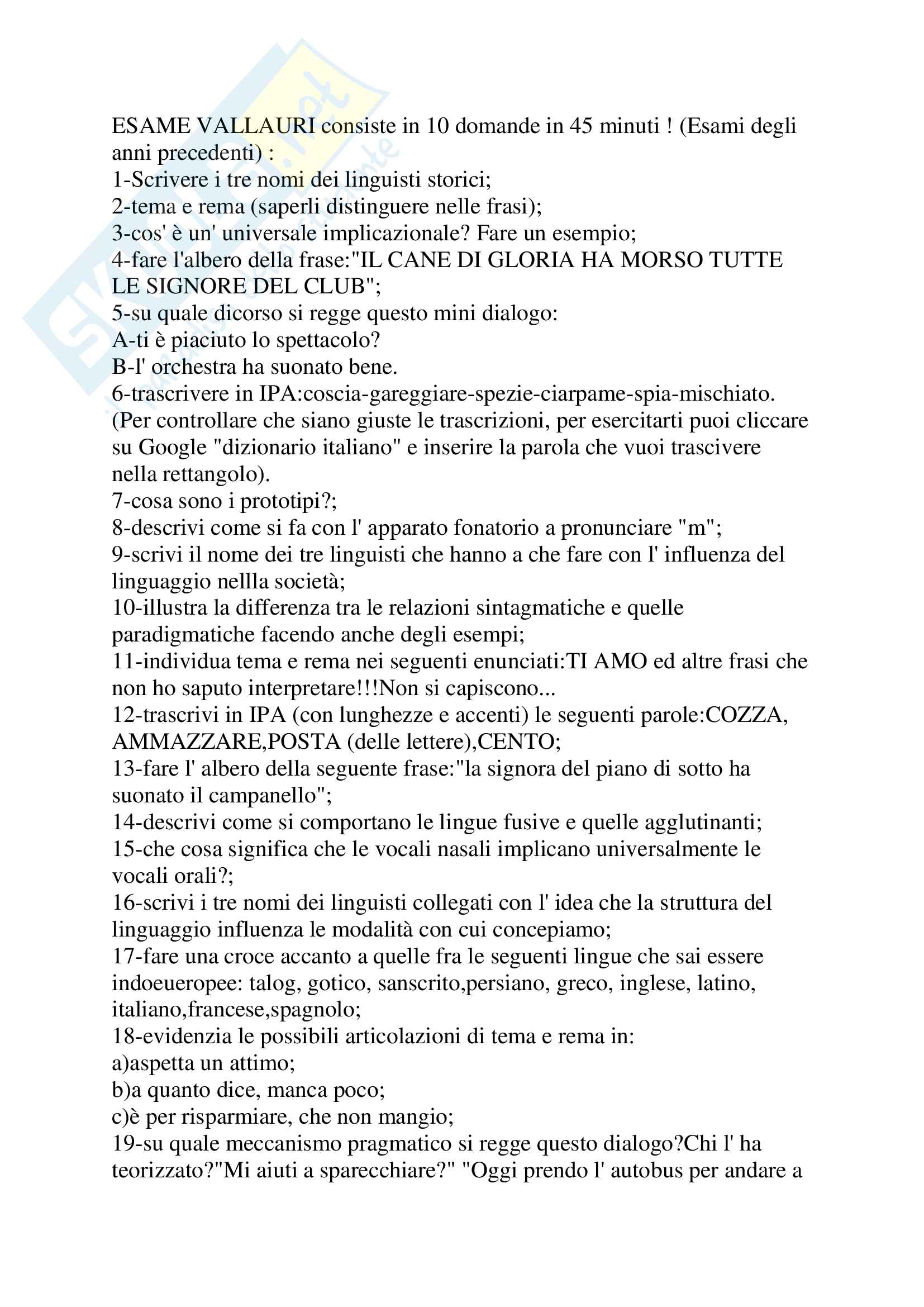 Domande esame Linguistica