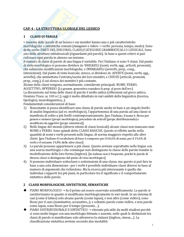 Riassunto esame Linguistica generale, prof. Dal Maso, libro consigliato Lessico, classi di parole, strutture, combinazioni, Jezek