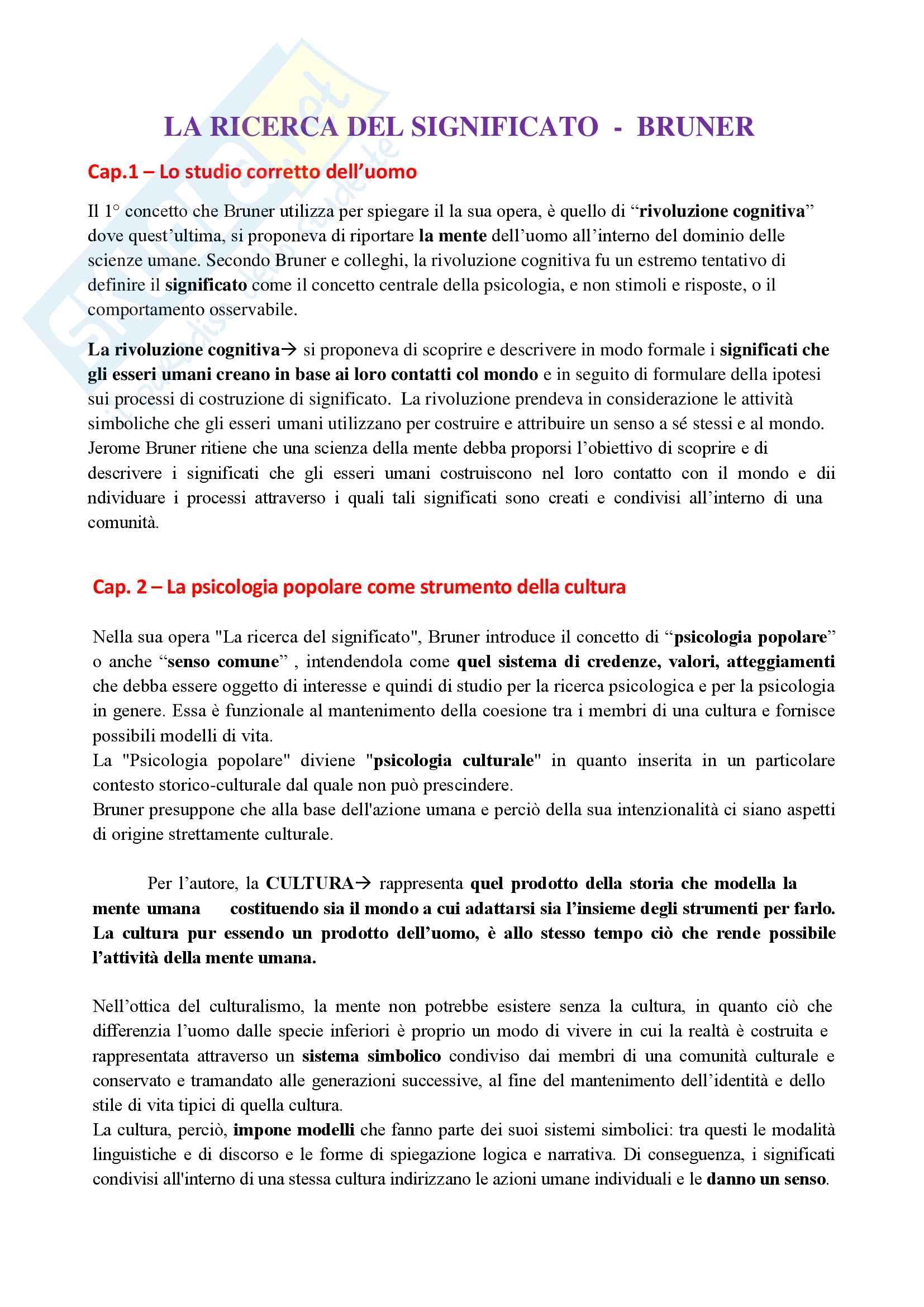 Riassunto esame psicologia dell'educazione,prof.ssa Cecotti, libro consigliato La ricerca del significato, Bruner