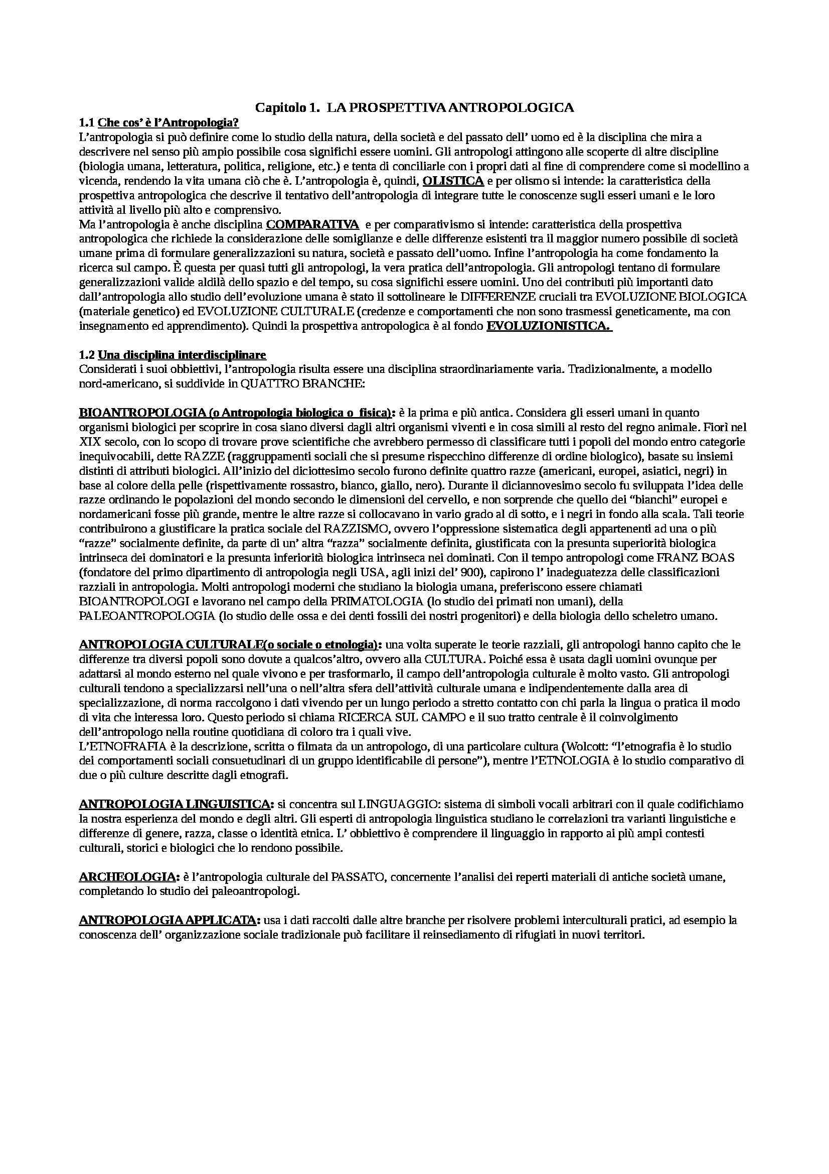 Riassunto esame Antropologia culturale, prof. Ligi, libro consigliato Antropologia culturale di Schultz, Lavenda, Zanichelli