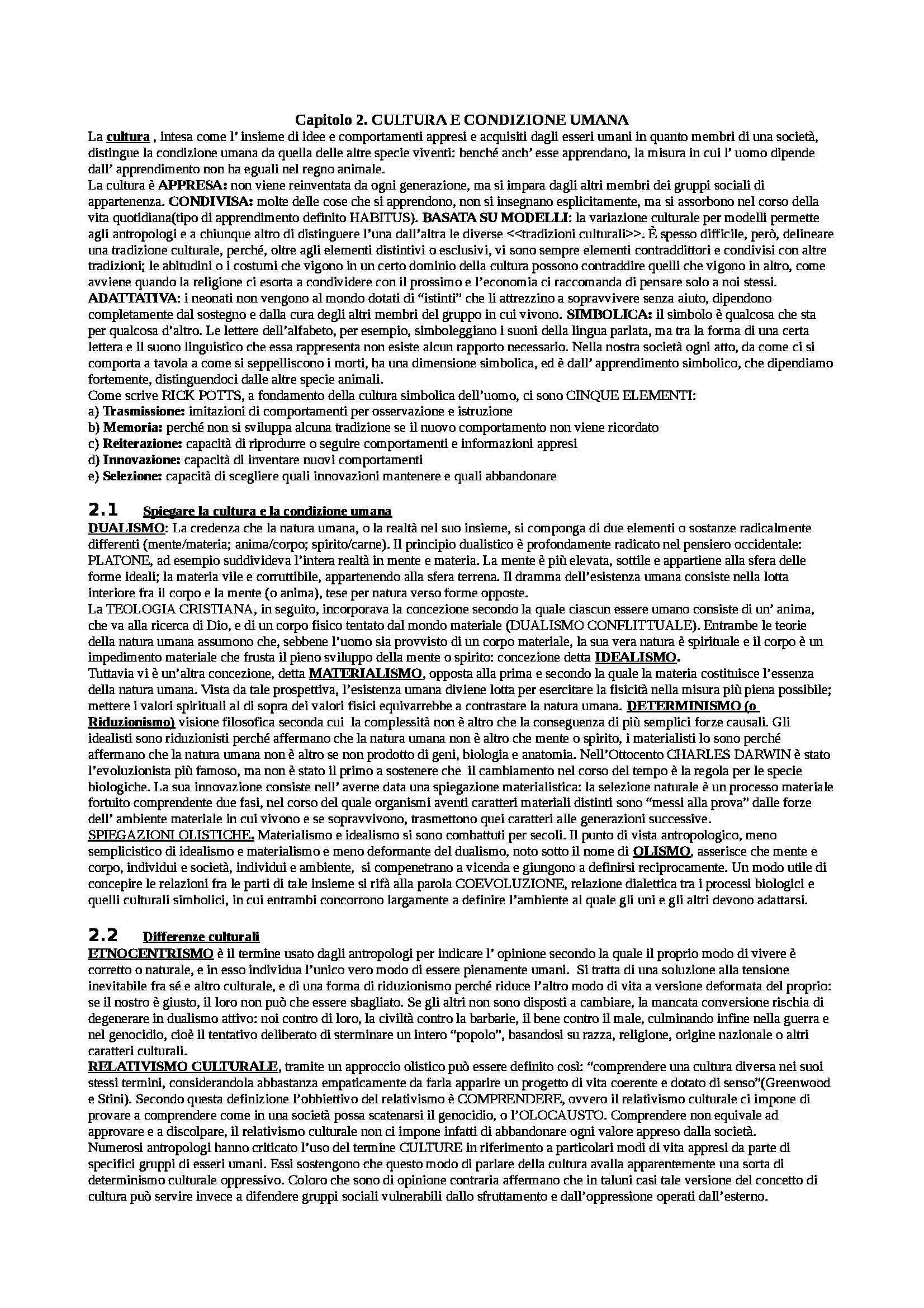 Riassunto esame Antropologia culturale, prof. Ligi, libro consigliato Antropologia culturale di Schultz, Lavenda, Zanichelli Pag. 2