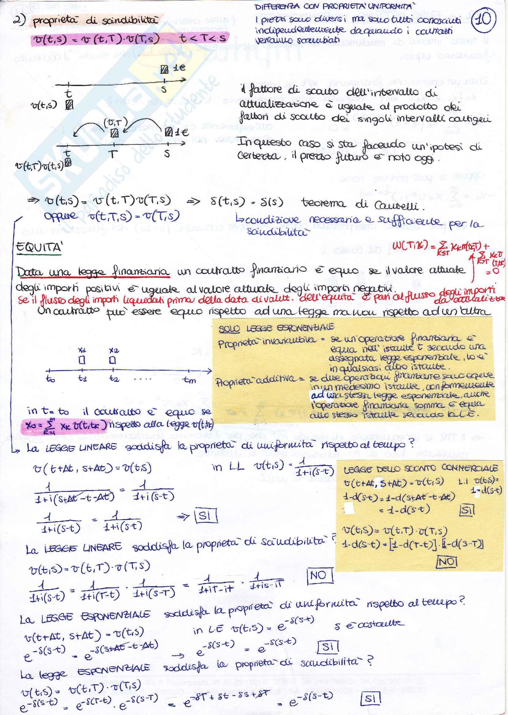 Matematica finanziaria appunti, prof. Mottura Pag. 11