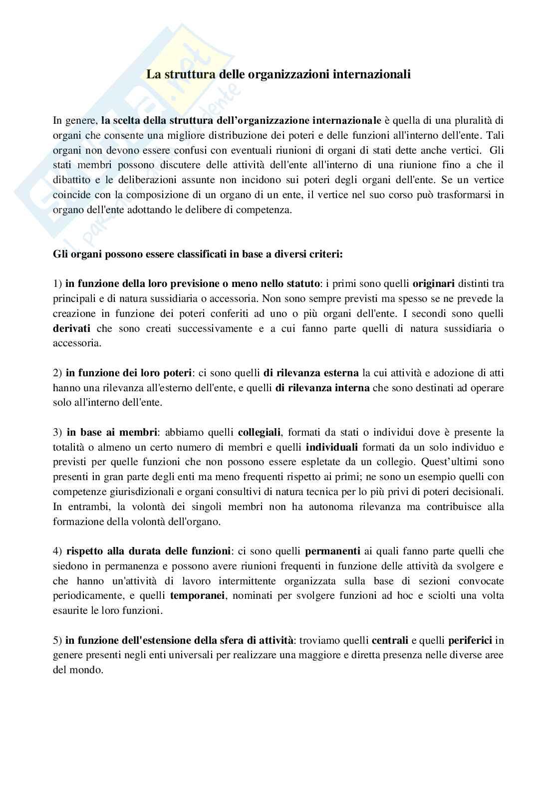 Appunti esame Diritto internazionale, prof. Biagioni, La struttura delle organizzazioni internazionali