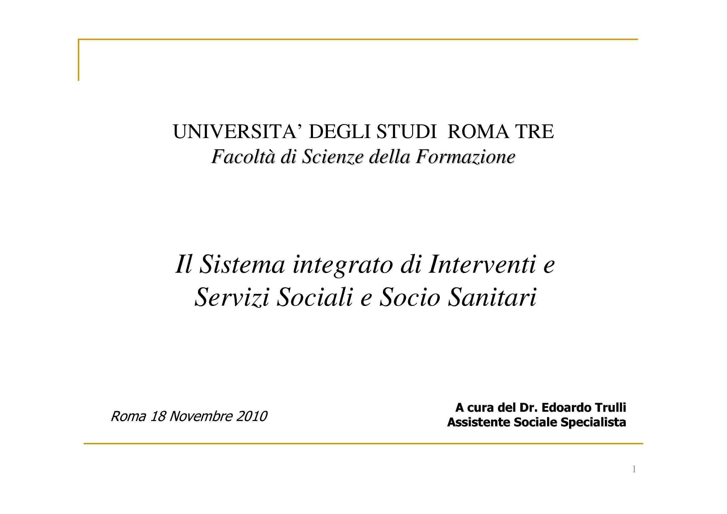 Servizi Sociali - Sistema integrato