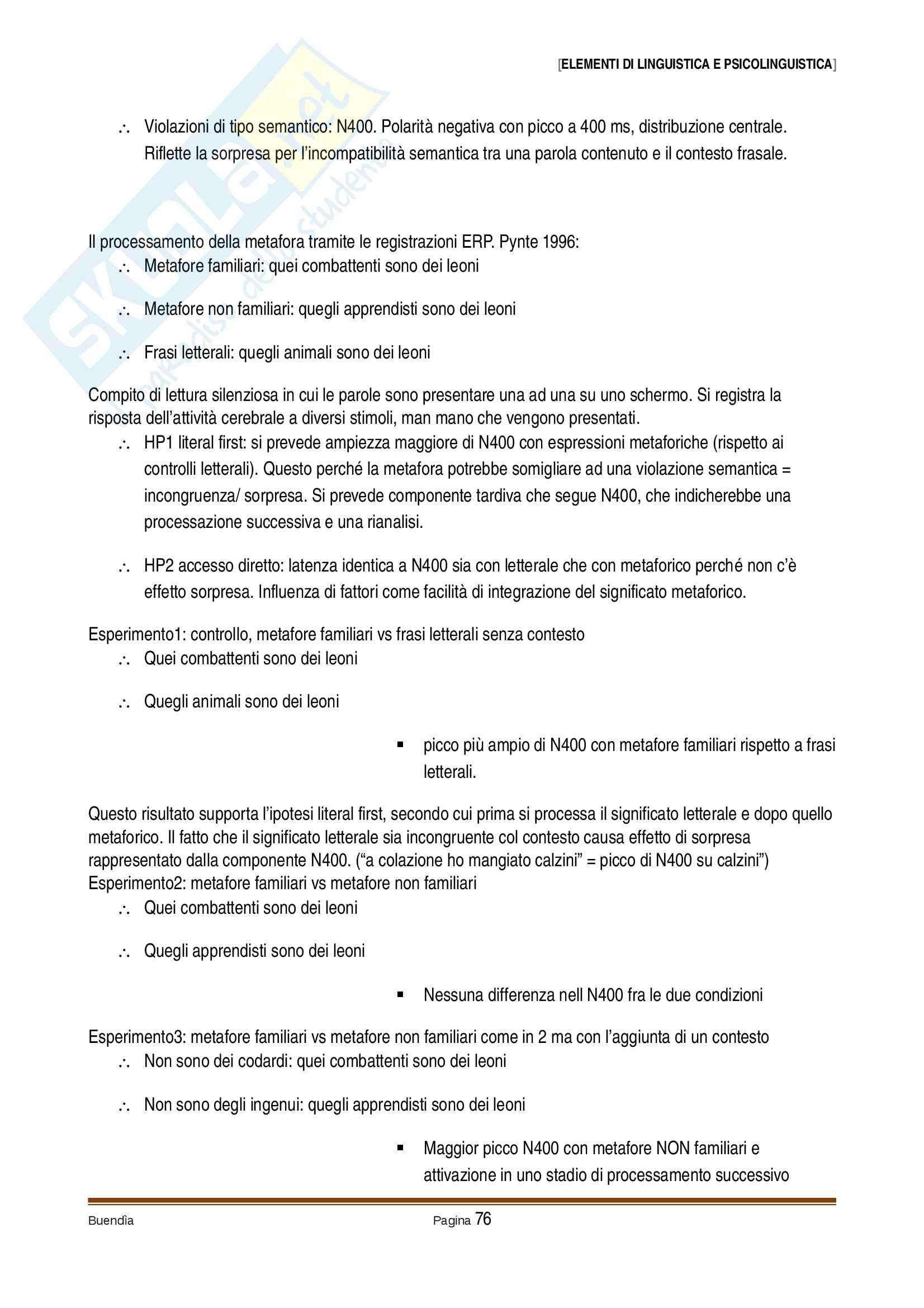 Appunti delle lezioni di elementi di linguistica e psicolinguistica, prof. Panzeri Pag. 76