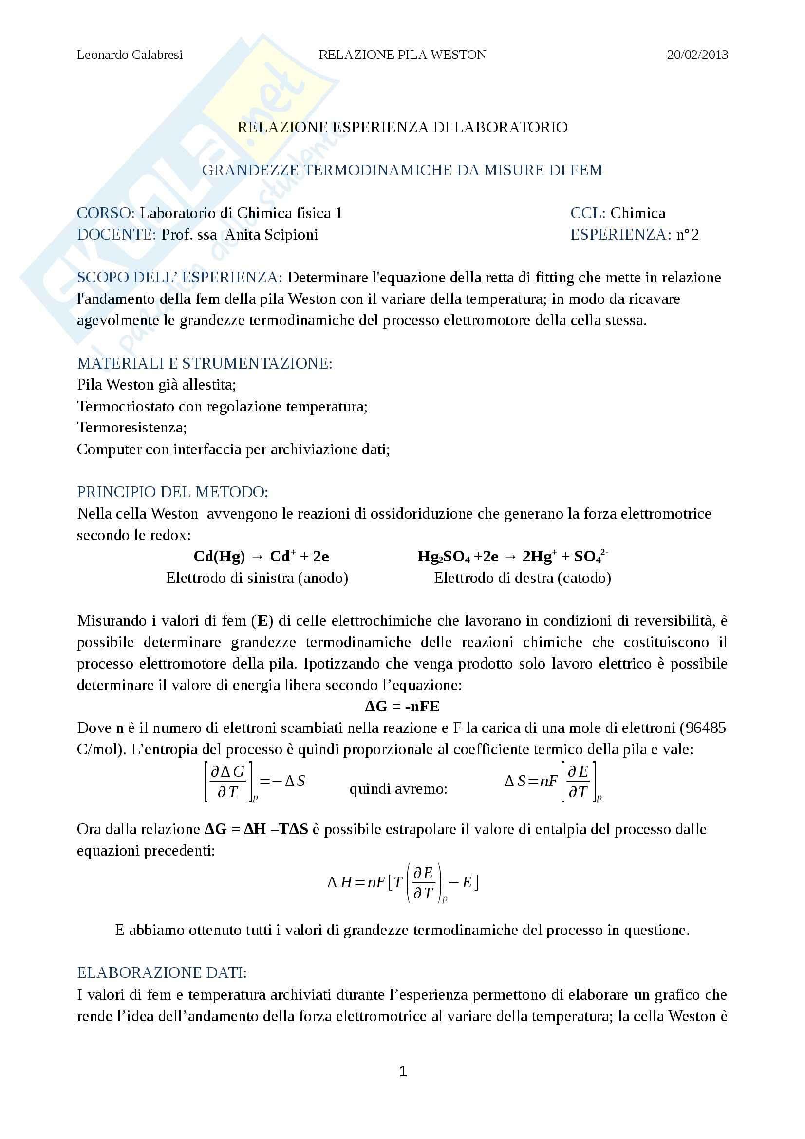 Relazione laboratorio (pila), Chimica fisica