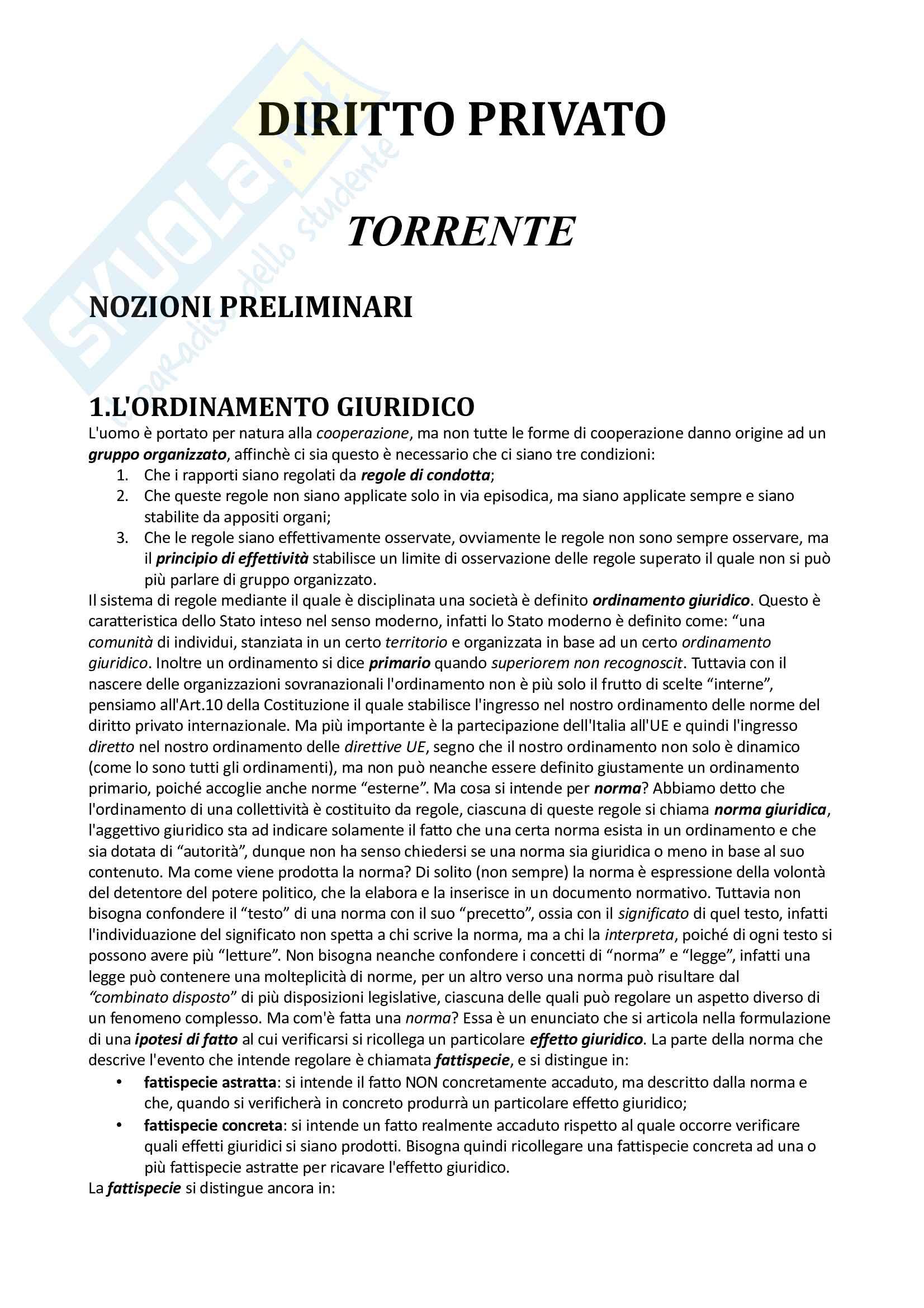 Riassunto esame Diritto Privato, prof. Lobuono, libro consigliato Diritto privato, Torrente, Schlesinger
