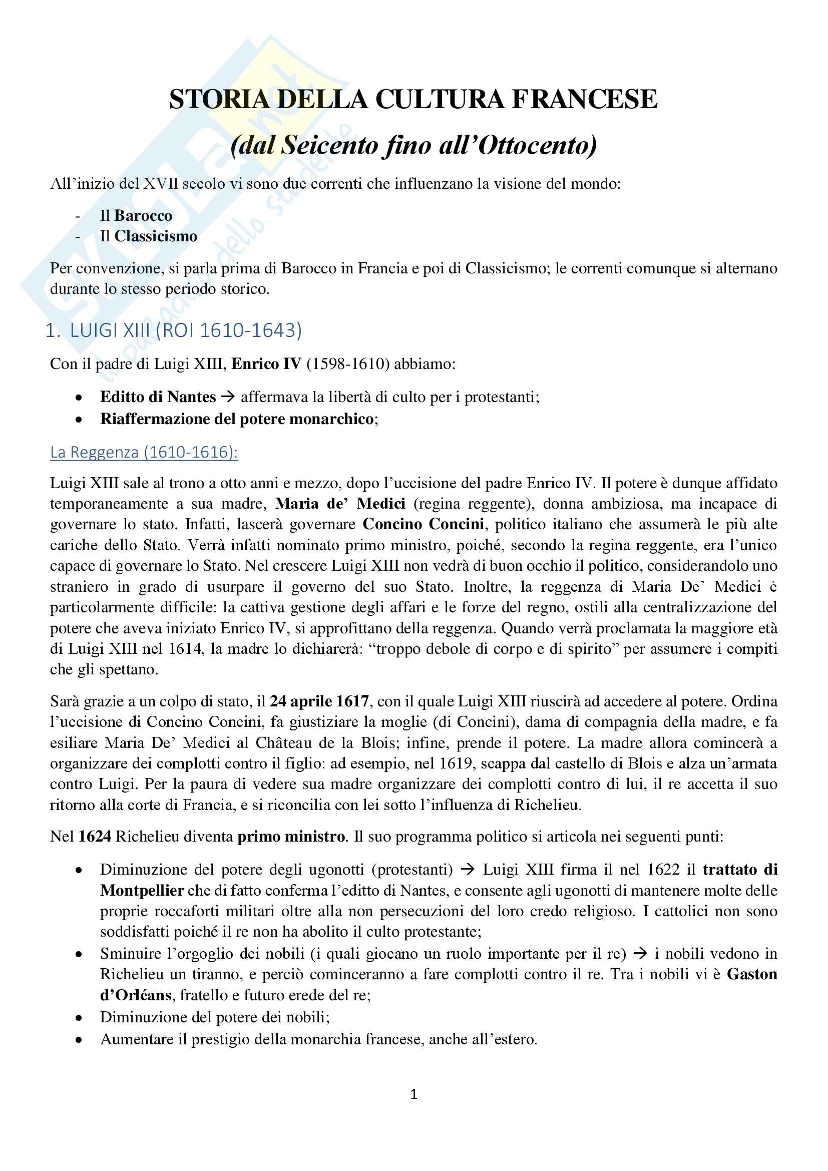 Storia della cultura francese dal Seicento all'Ottocento, esame di storia della cultura francese, prof. Brignoli, appunti