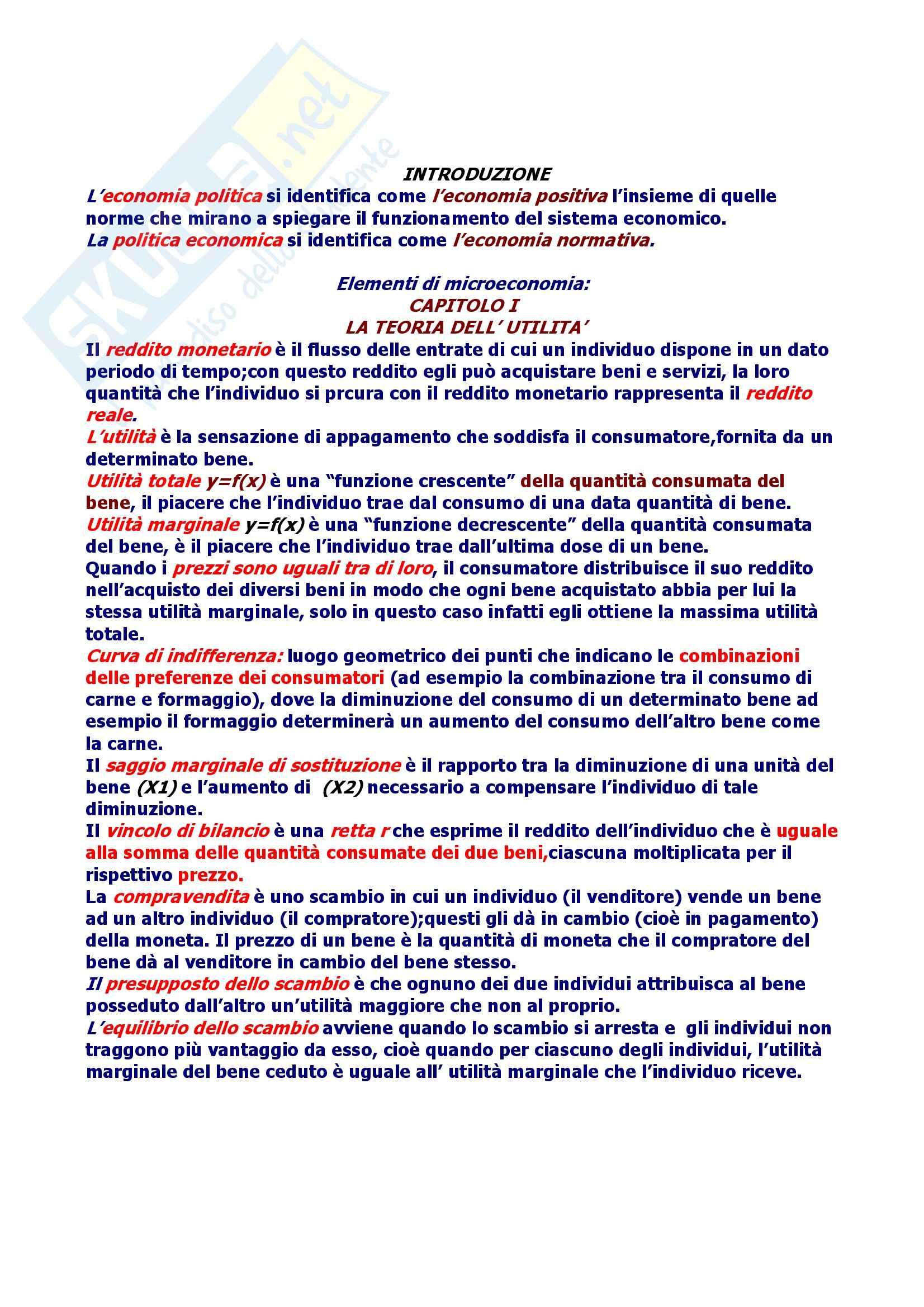 Riassunto esame Economia Politica, prof. Martucci, libro consigliato Elementi di Economia Politica, Palmerio