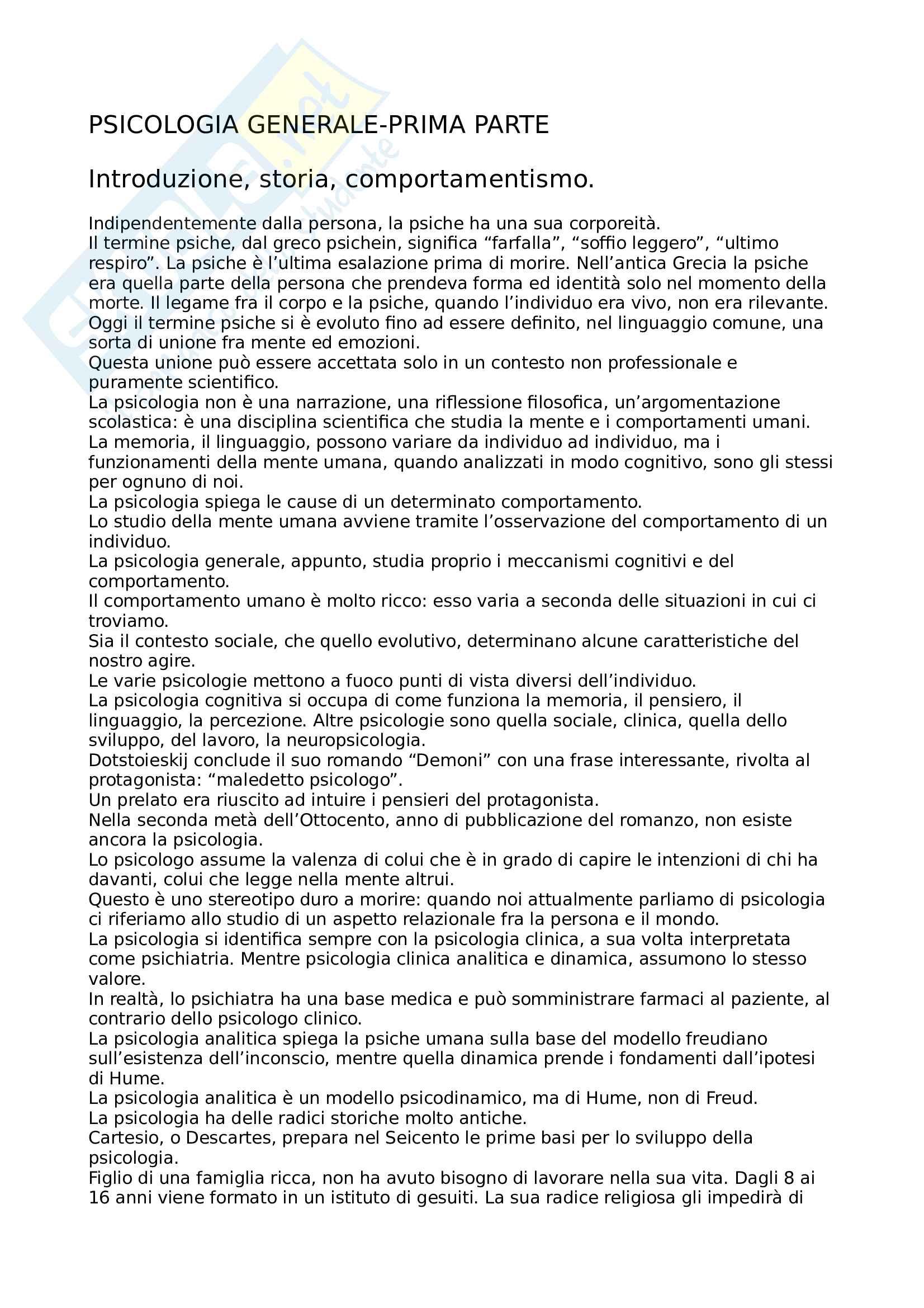 Psicologia Generale - Appunti e domande Pag. 1