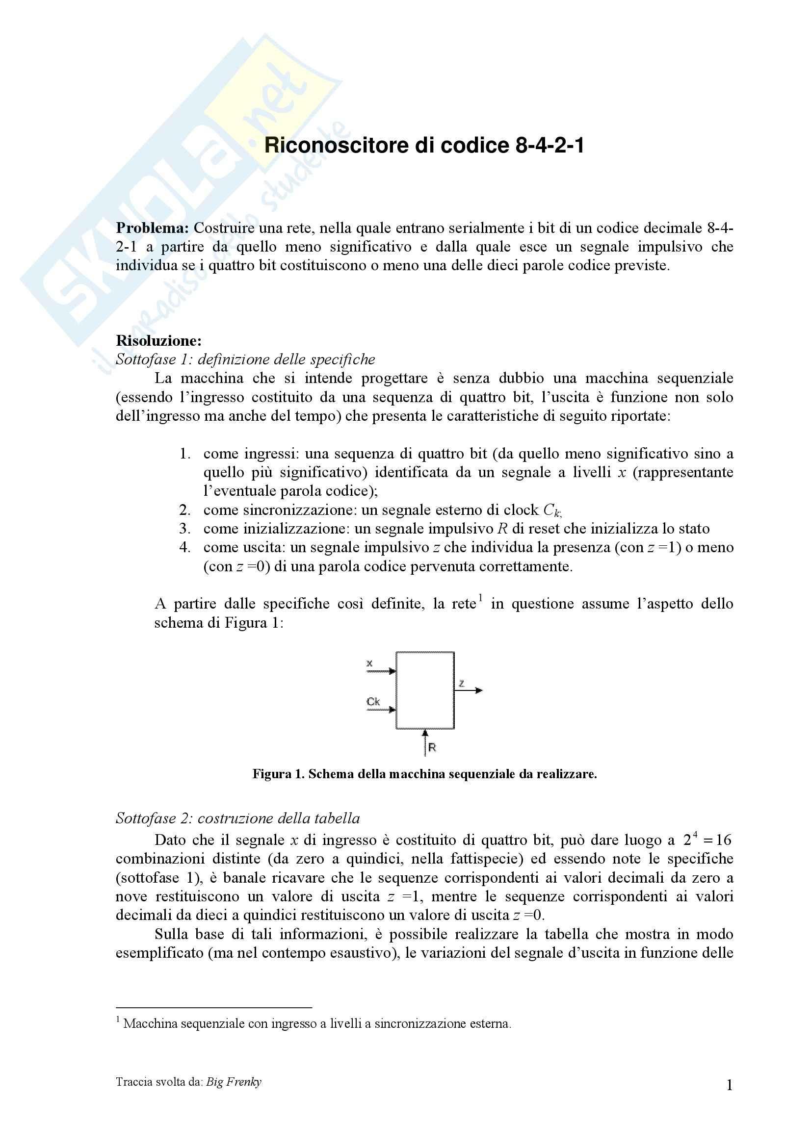 Reti Logiche - riconoscitore di codice 8-4-2-1