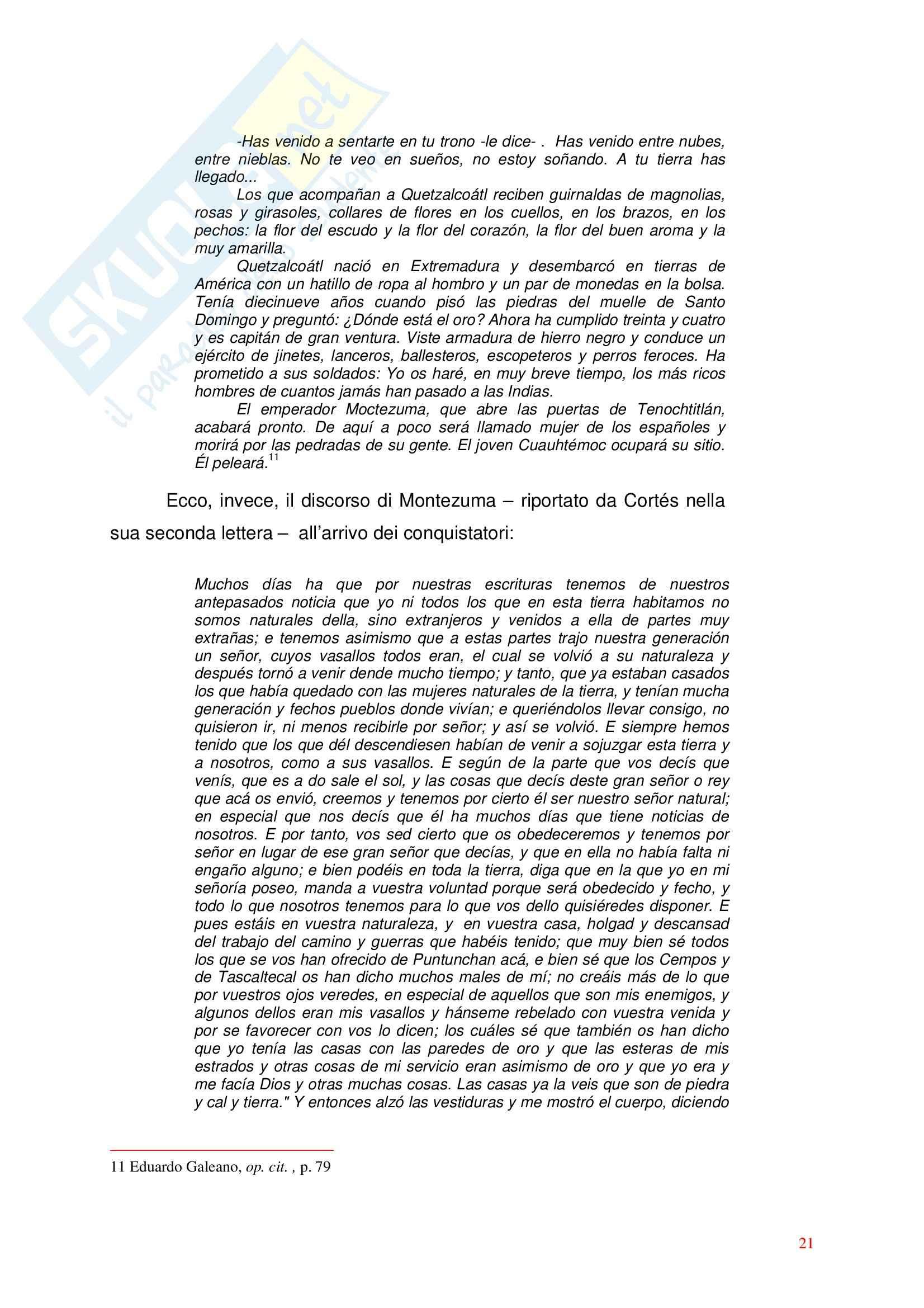 Letteratura spagnola - l'incontro con il Nuovo mondo nei testi spagnoli Pag. 21