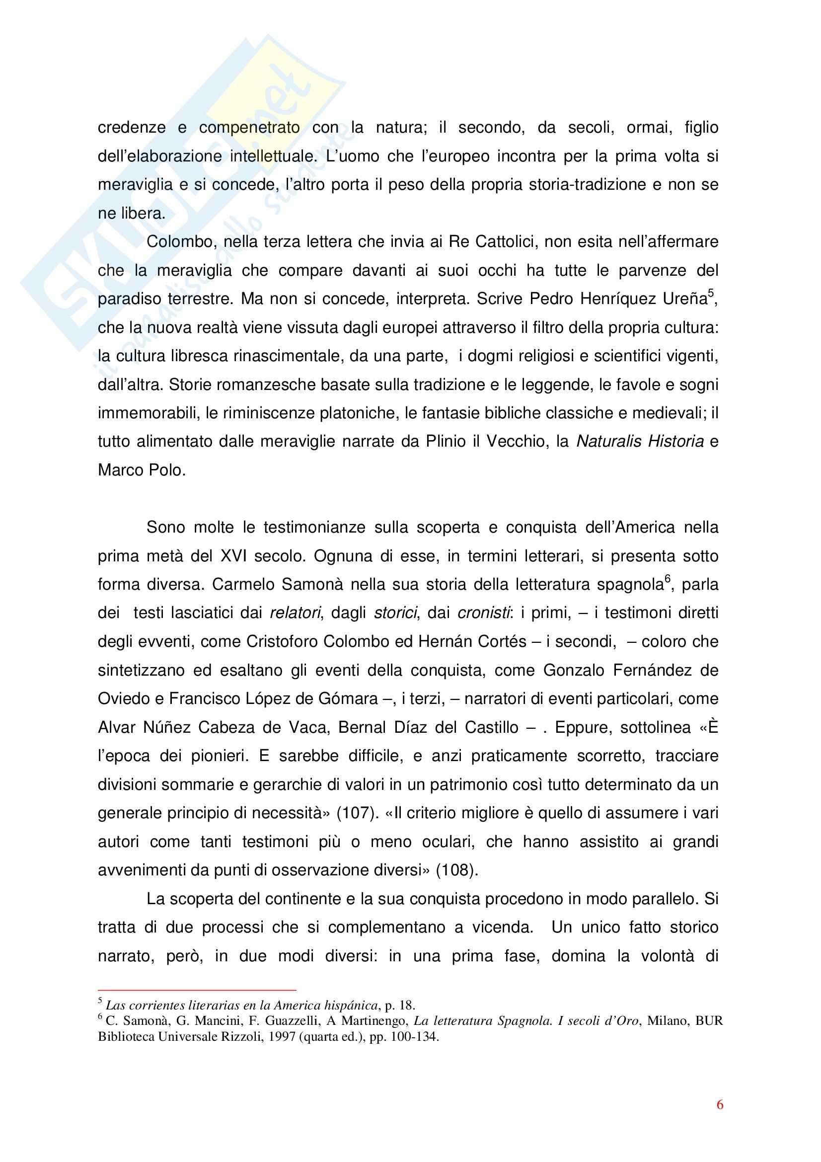 Letteratura spagnola - l'incontro con il Nuovo mondo nei testi spagnoli Pag. 6
