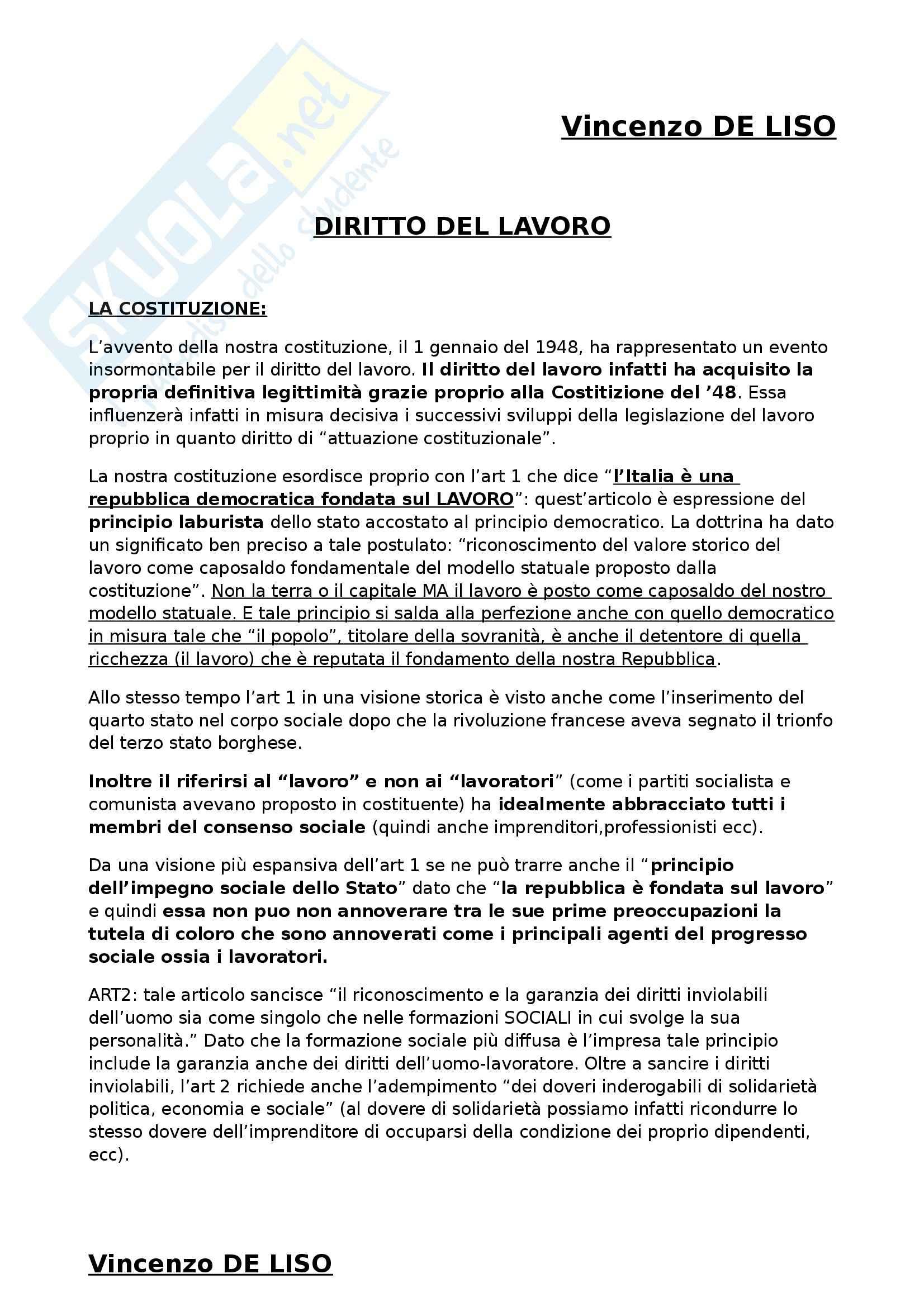 Riassunto esame Diritto del Lavoro, prof. Zoppoli, libro consigliato Diritto del Lavoro di Del Punta