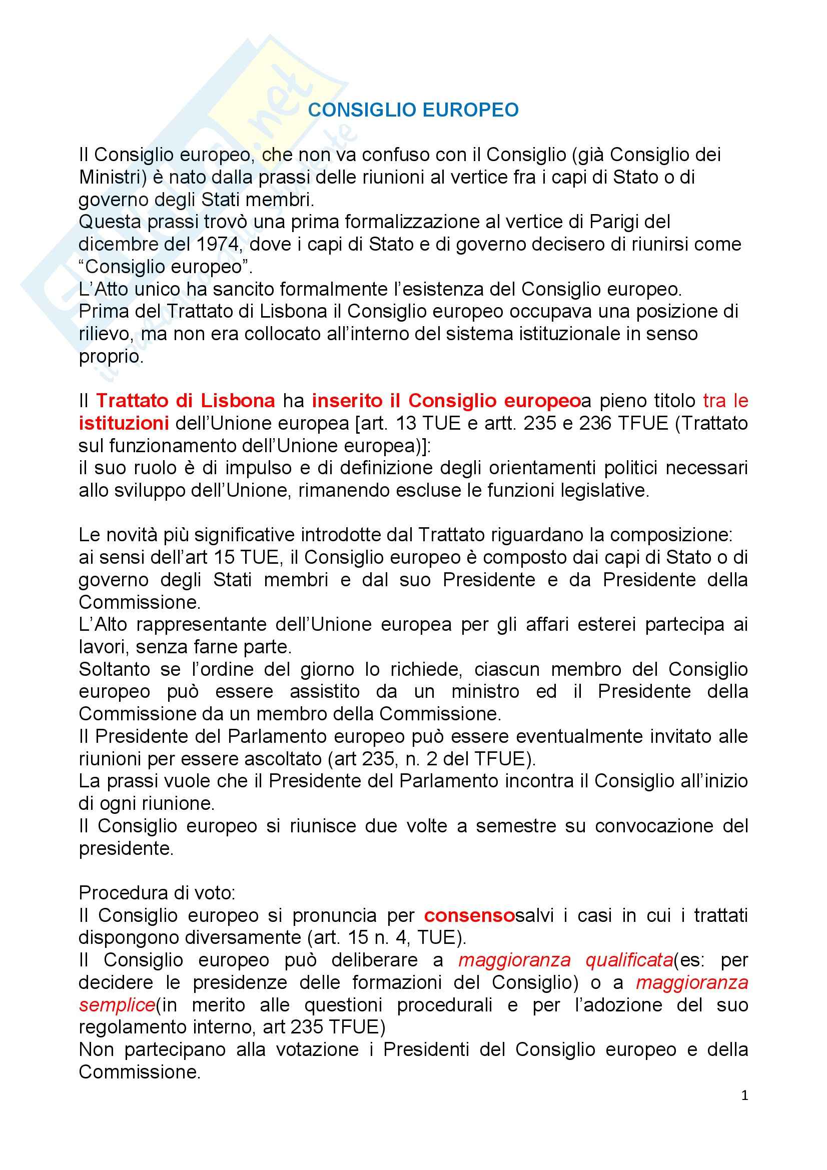 Diritto dell'Unione Europea - la sintesi delle Istituzioni europee