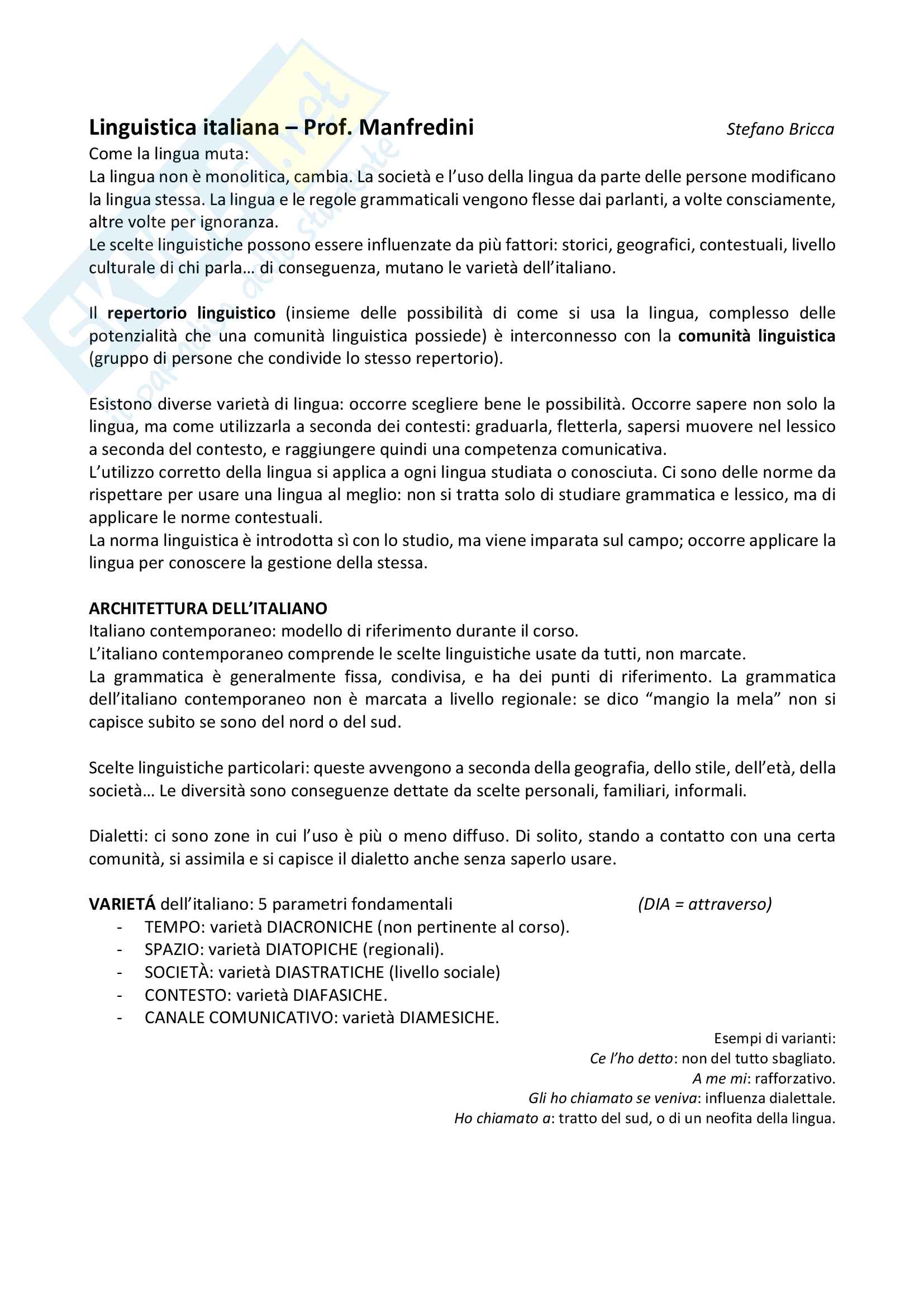Appunti completi per esame di Linguistica italiana prof Manfredini Unige 2016 2017