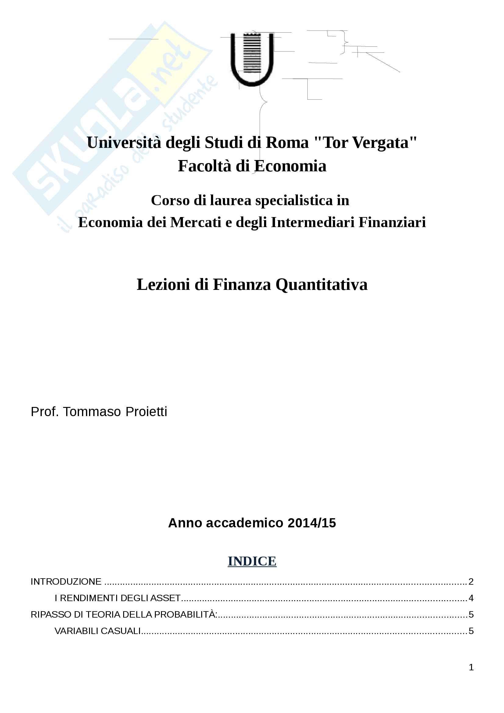 Appunti Finanza Quantitativa