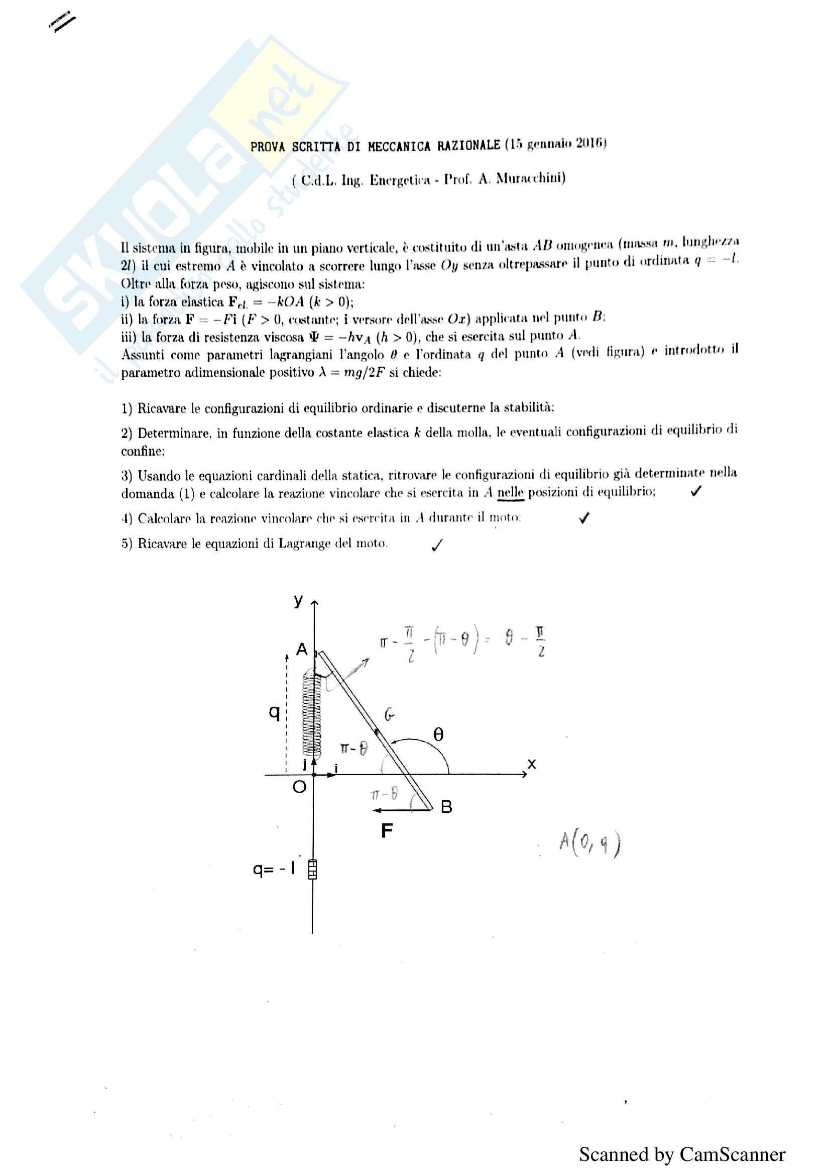 Risoluzione prove scritte 2016, meccanica razionale, prof. Muracchini
