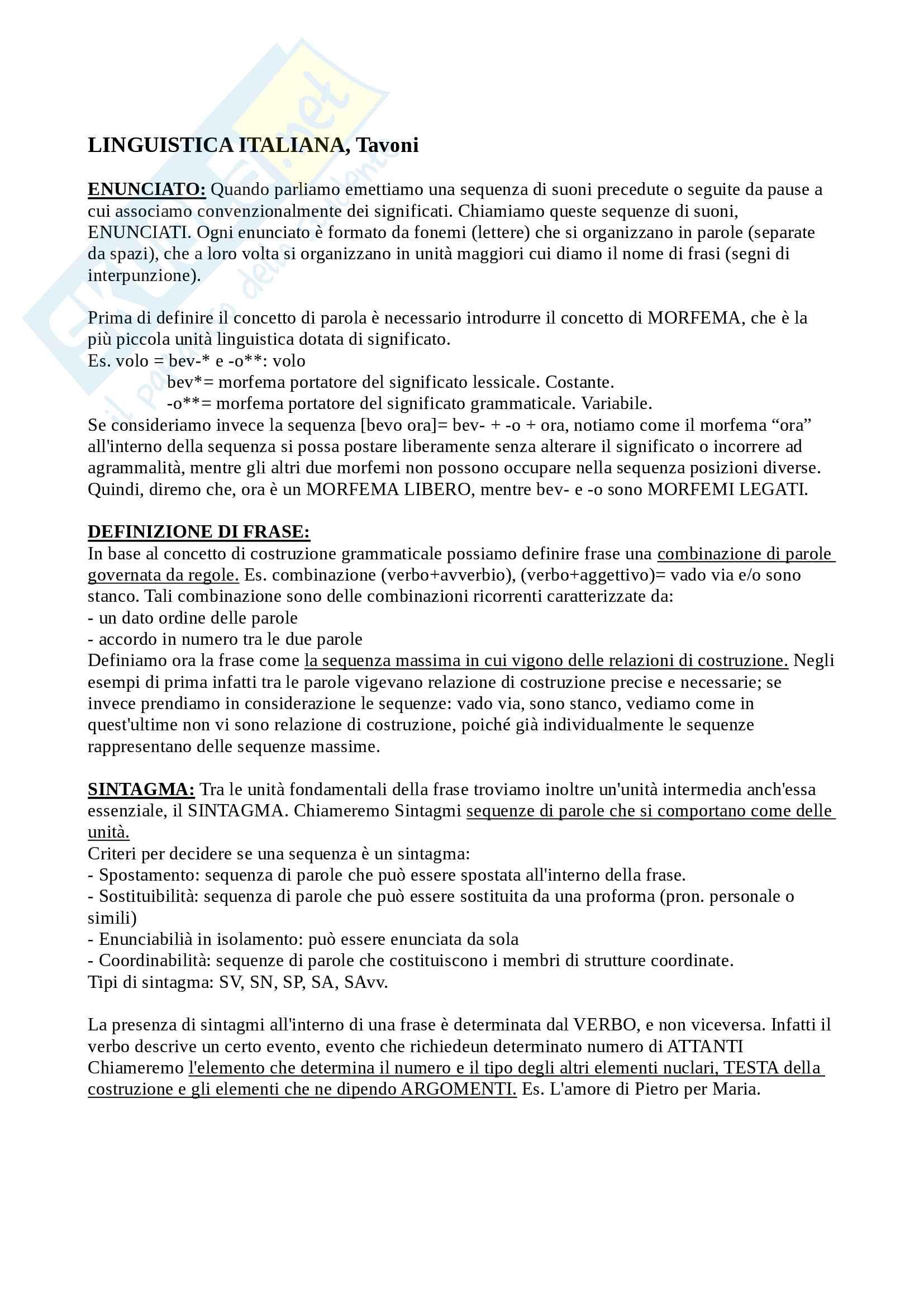 appunto M. Tavoni Linguistica italiana