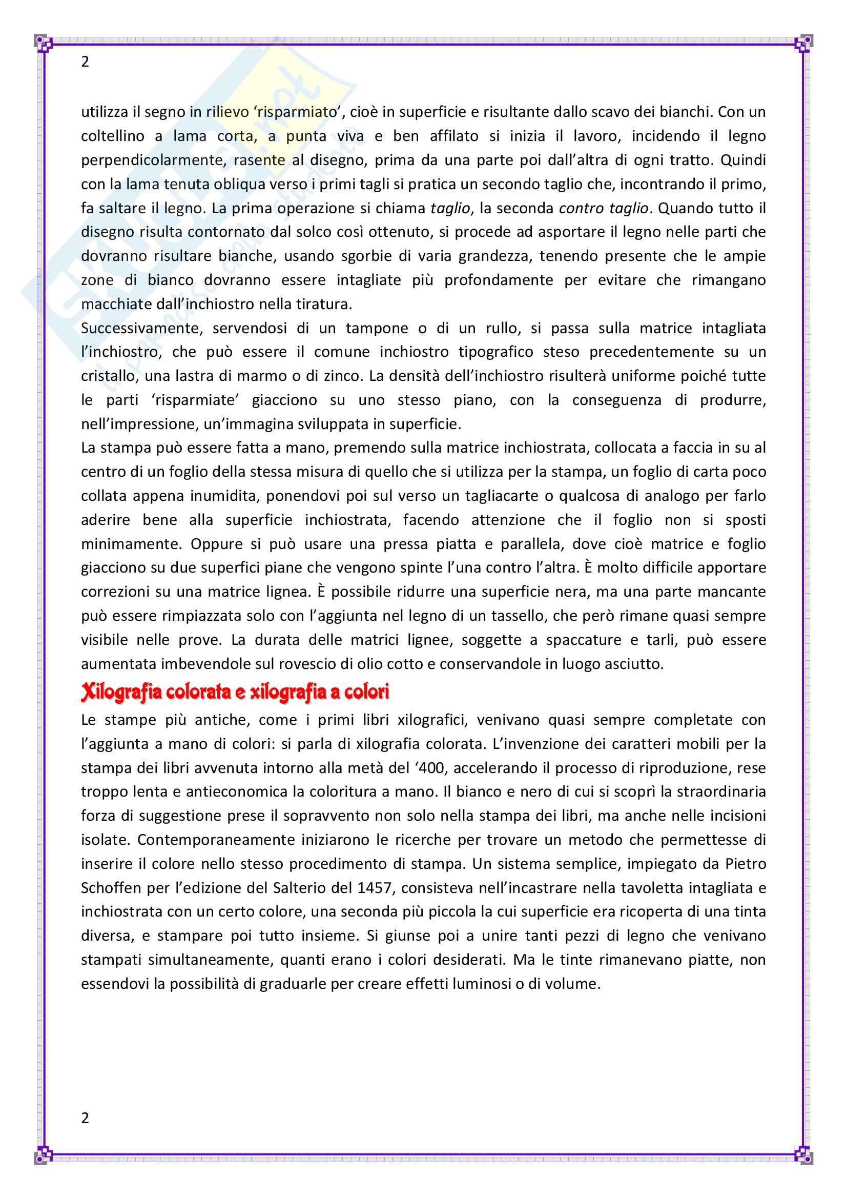 Storia dell'incisione, decorazione e illustrazione del libro - Appunti Pag. 2