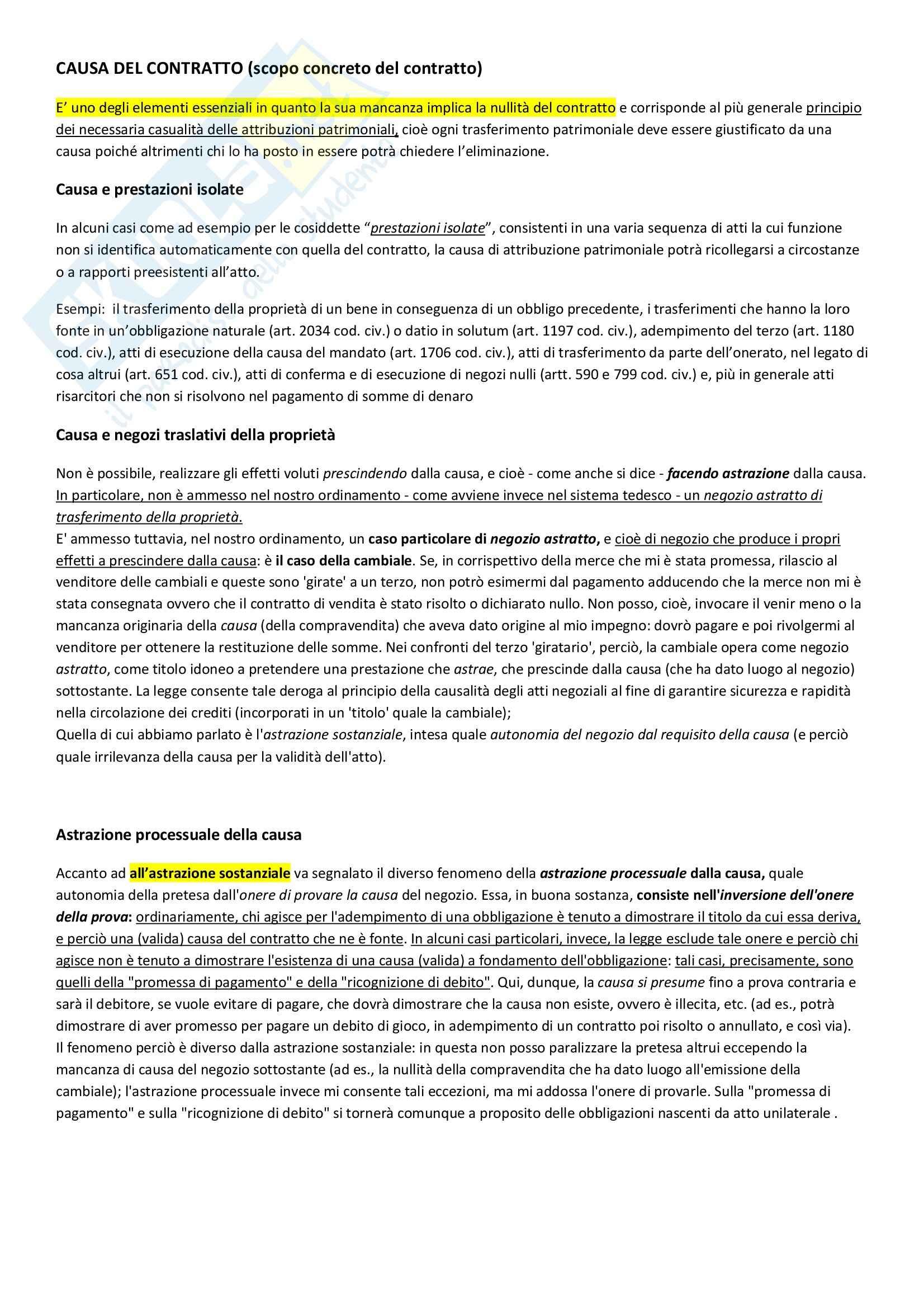 Riassunto esame Diritto privato: causa del contratto, prof. Scognamiglio