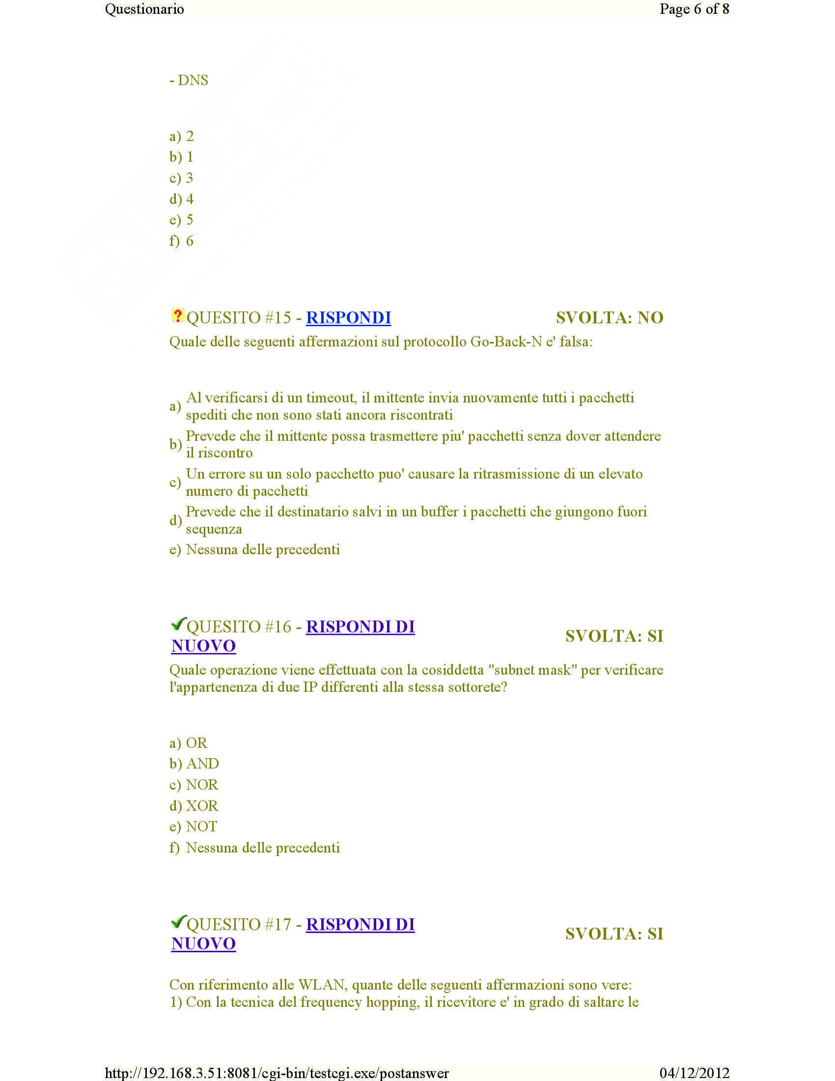 Calcolatori elettronici -04/12/2012 Pag. 6