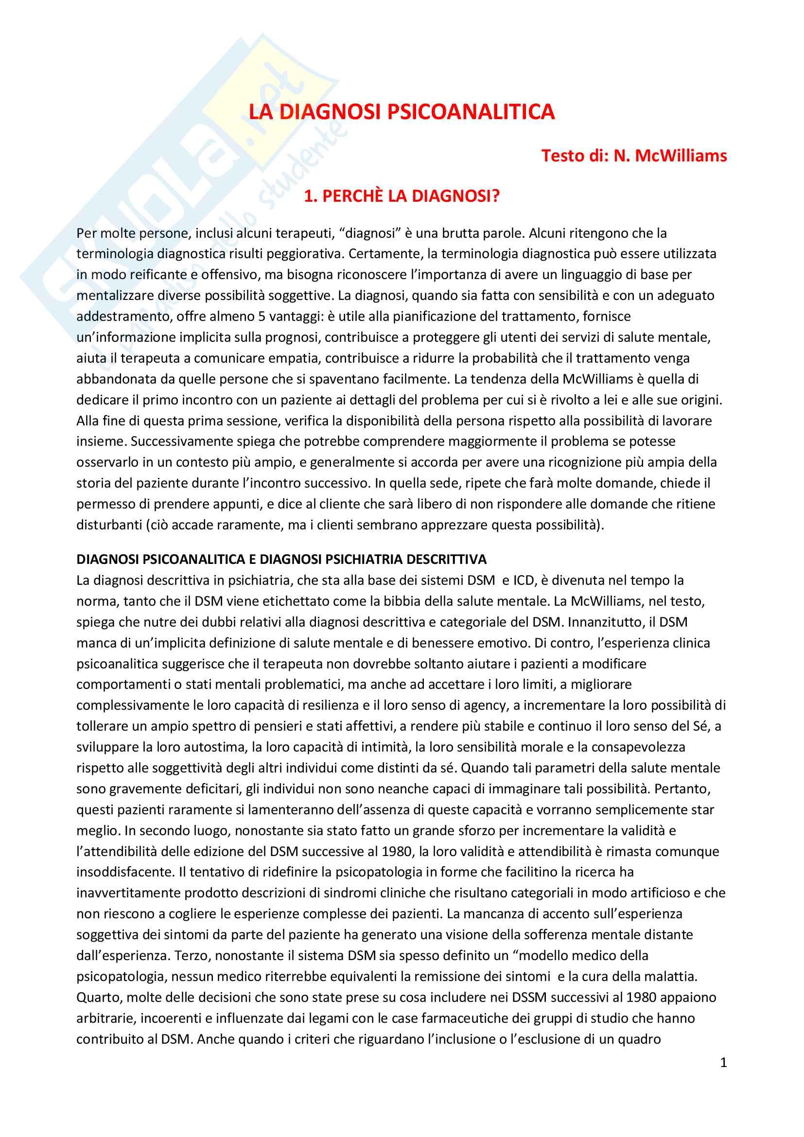 Riassunto esame Psicodiagnostica e psicopatologia, prof. La Grutta, libro consigliato La diagnosi psicoanalitica, N. Mc Williams