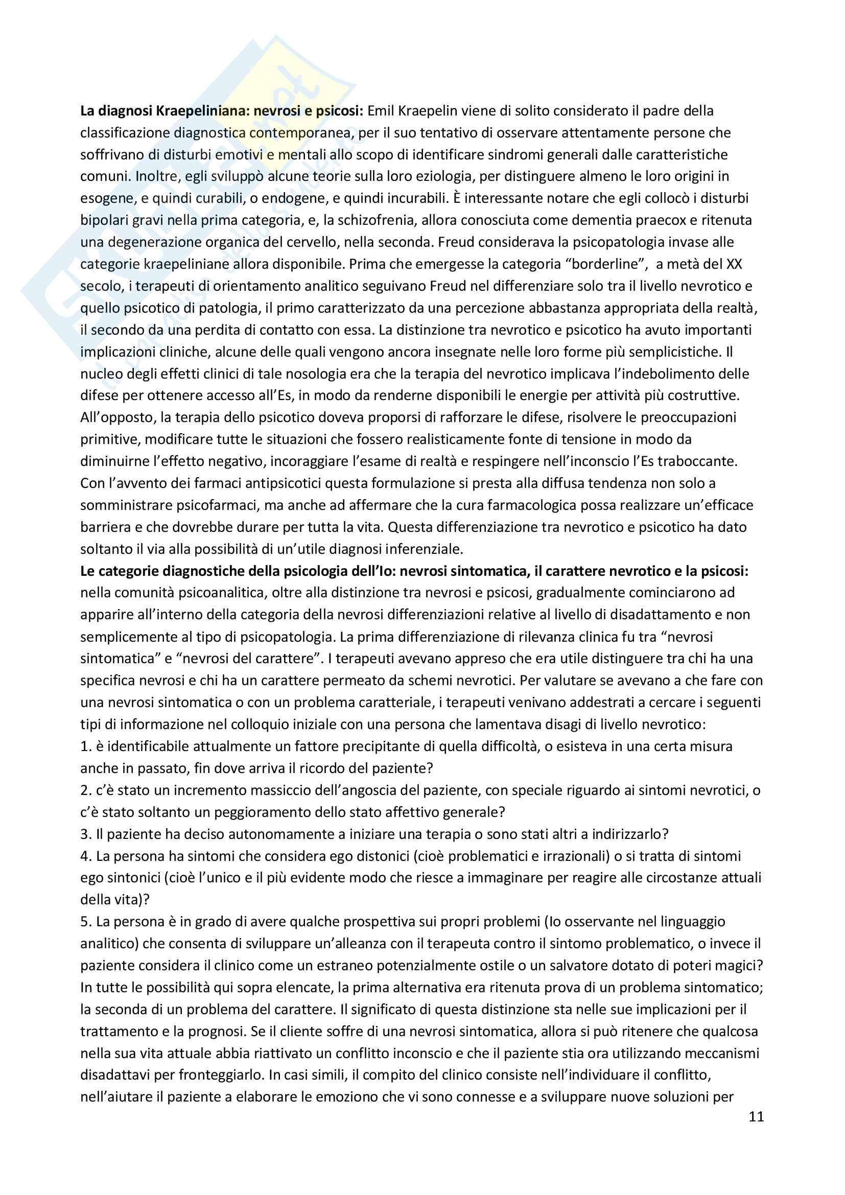 Riassunto esame Psicodiagnostica e psicopatologia, prof. La Grutta, libro consigliato La diagnosi psicoanalitica, N. Mc Williams Pag. 11