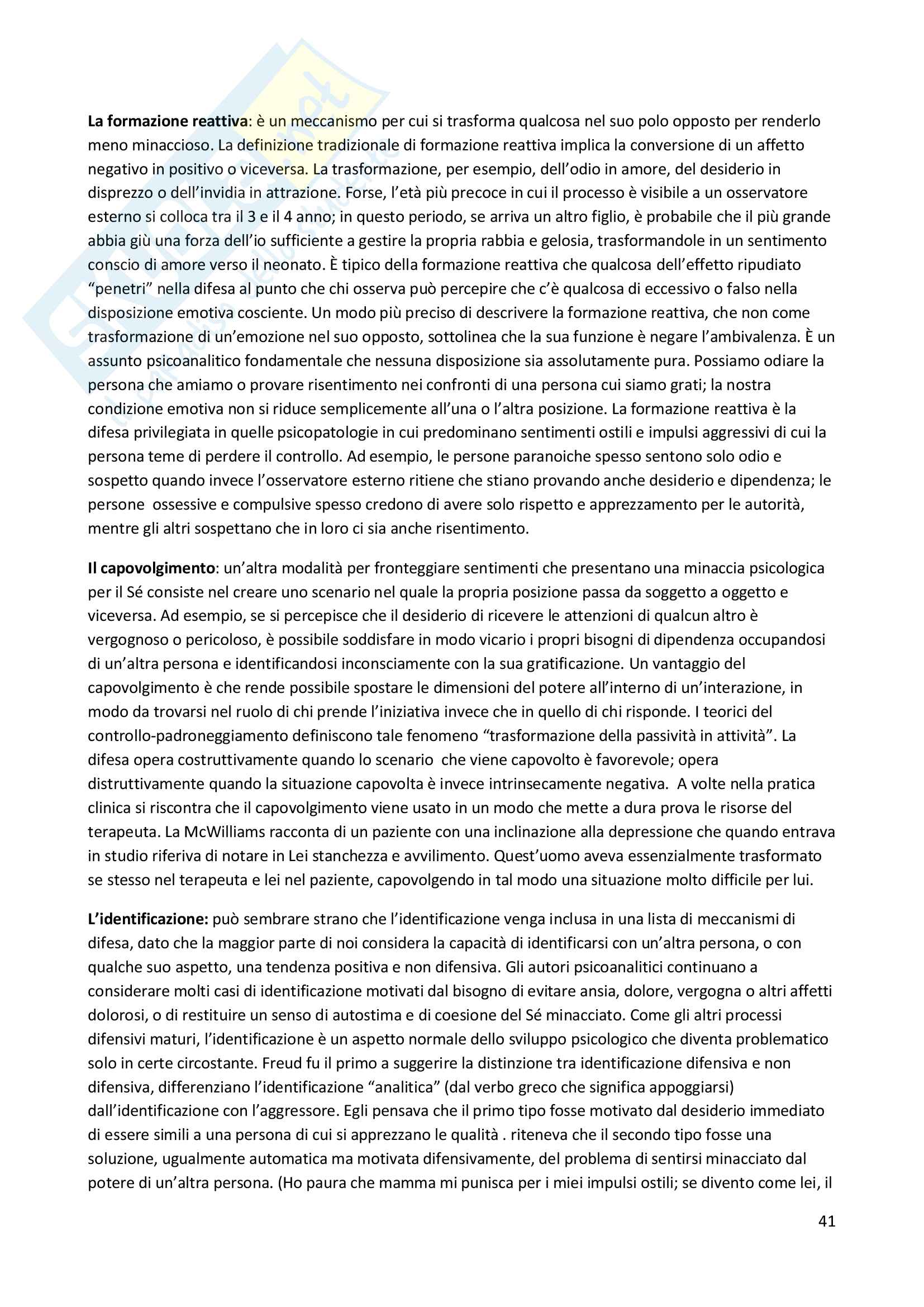 Riassunto esame Psicodiagnostica e psicopatologia, prof. La Grutta, libro consigliato La diagnosi psicoanalitica, N. Mc Williams Pag. 41
